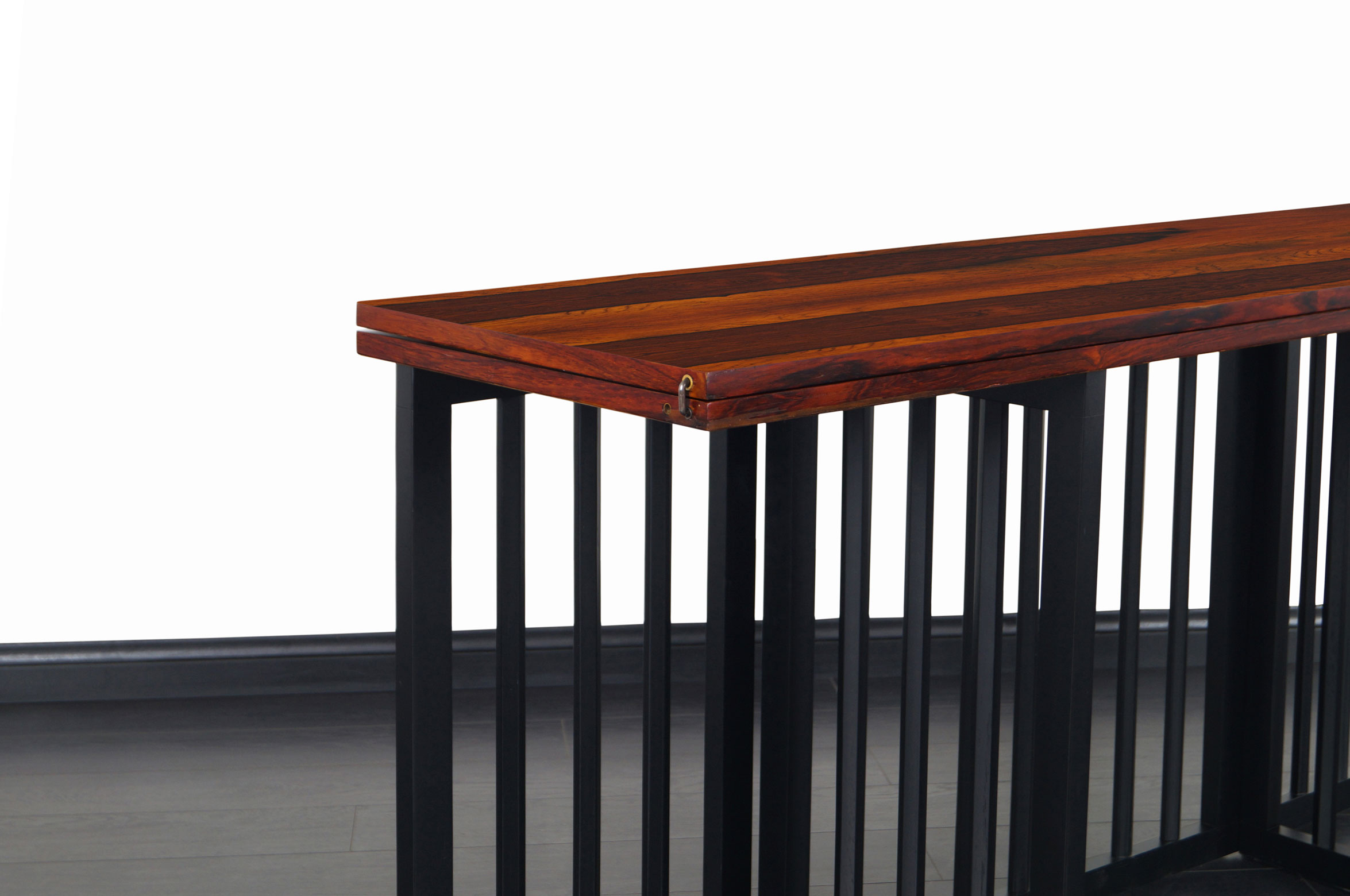 Mid Century Rosewood Flip-Top Dining Table or Console Table by Harvey Probber