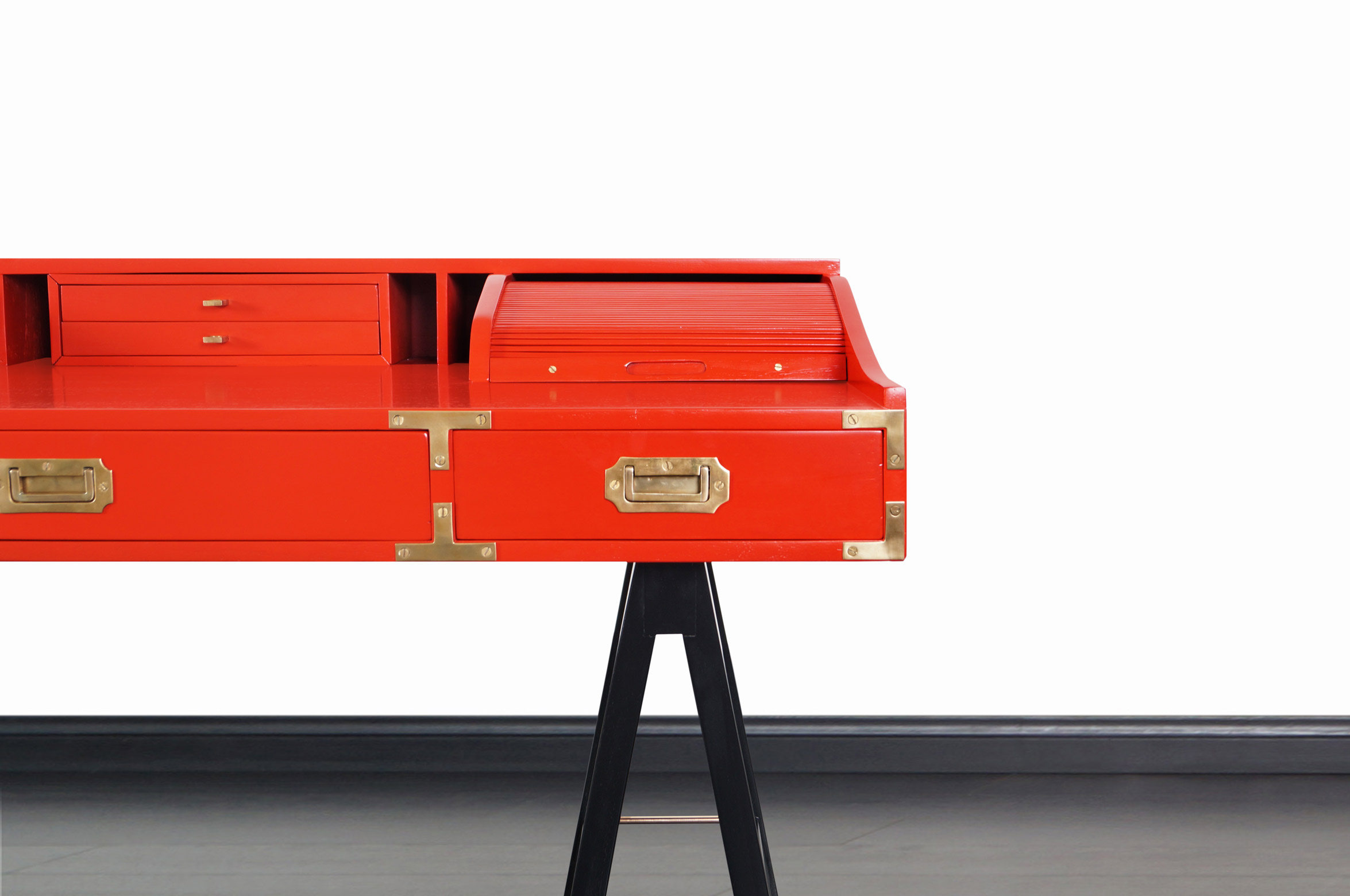 Vintage Lacquered and Brass Campaign Desk