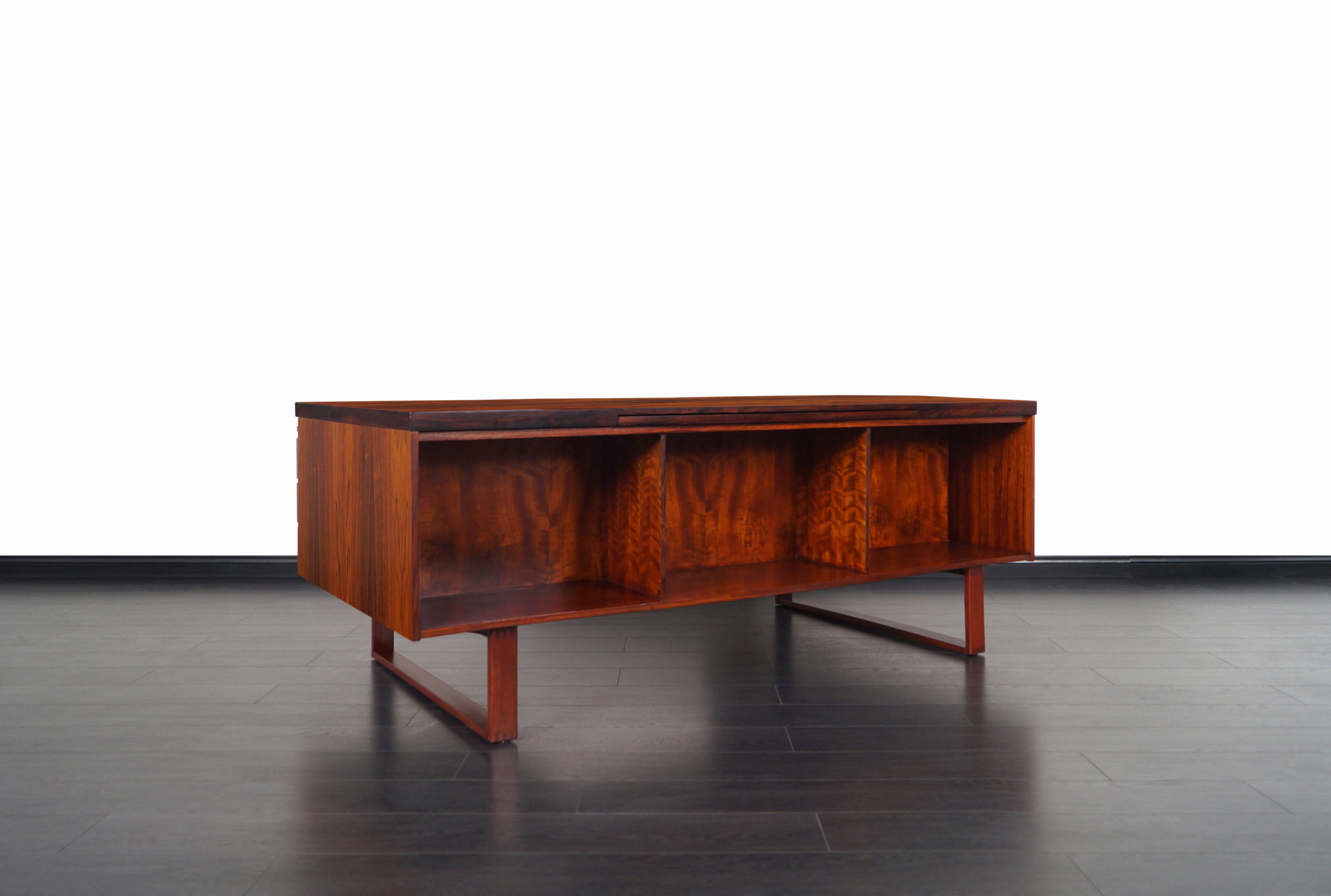 Danish Modern Executive Rosewood Desk by Henning Jensen and Torbin Valeur
