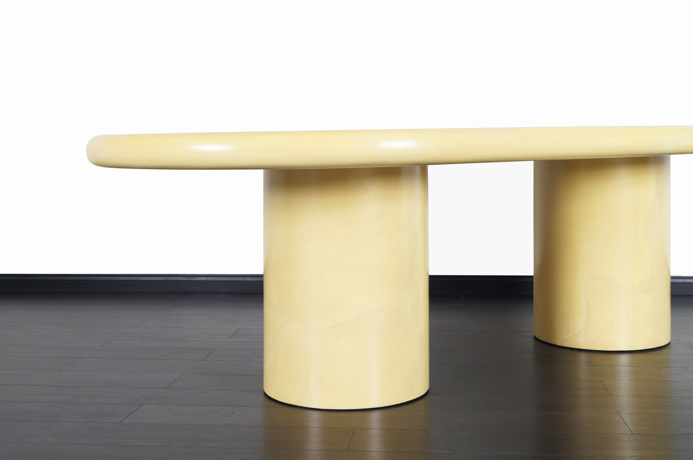Monumental Goatskin Parchment Dining Table Attributed to Karl Springer