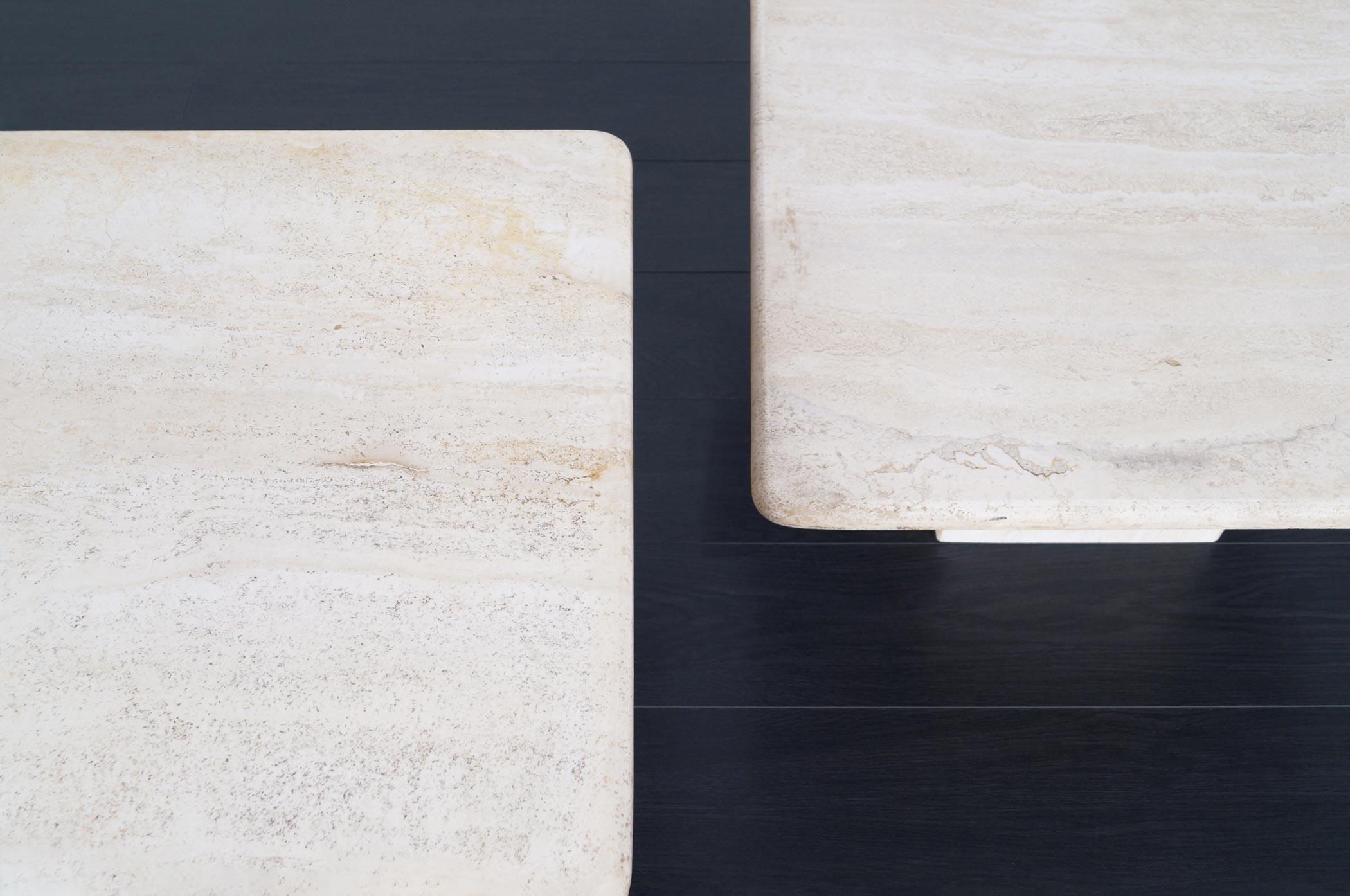 Italian Modernist Travertine Tables