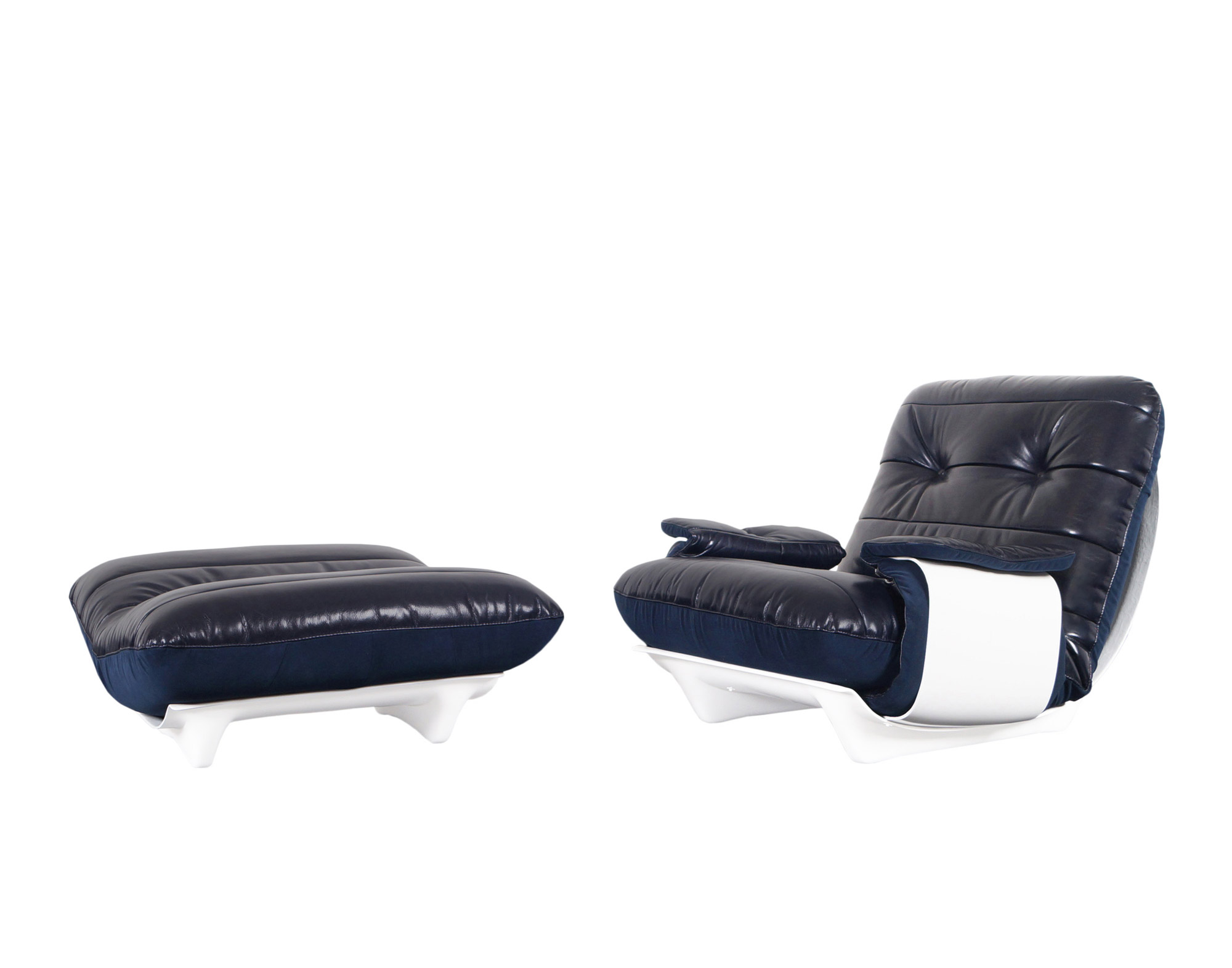 French Leather Marsala Lounge Chair and Ottoman by Michel Ducaroy