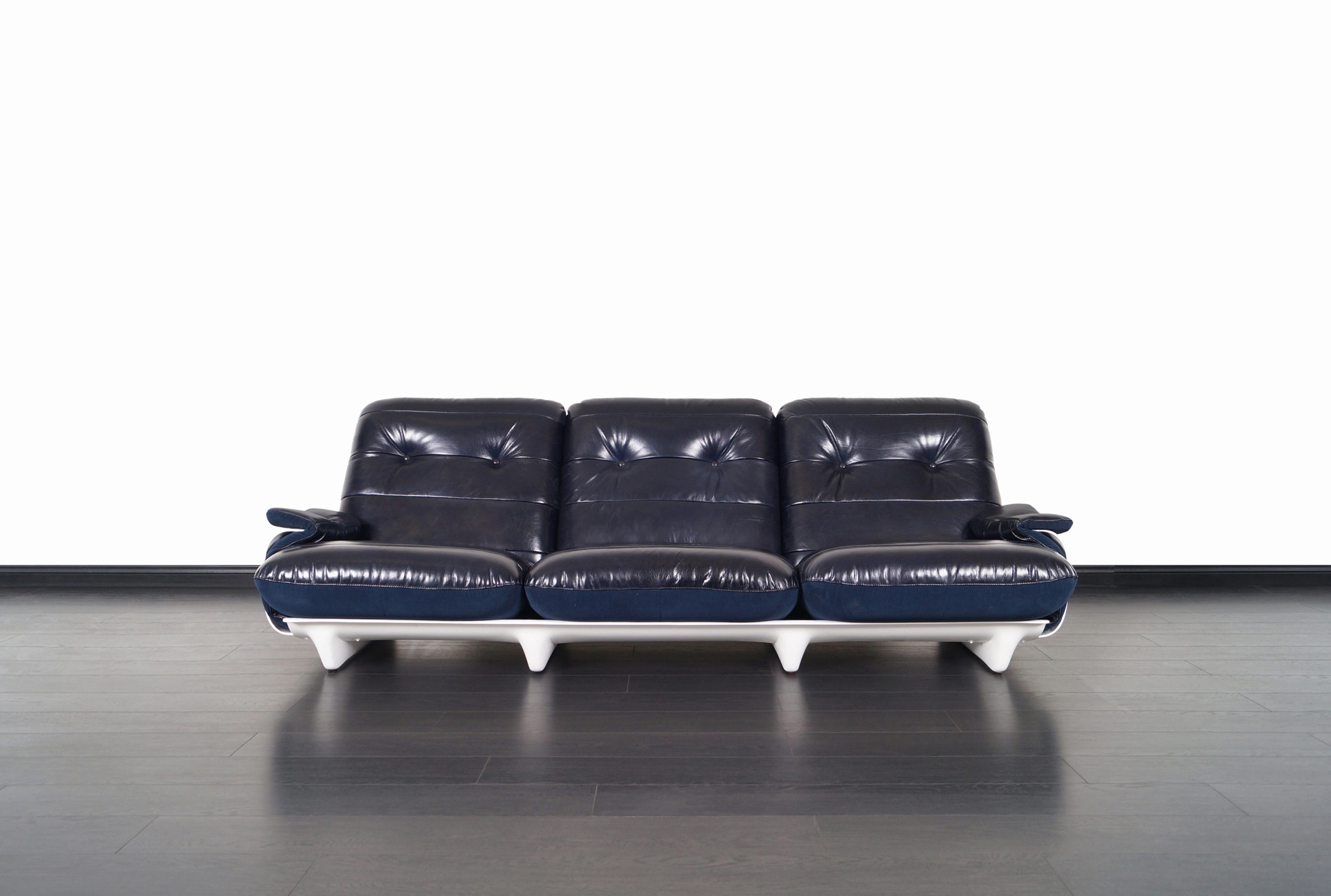 Vintage Leather Marsala Sofa by Michel Ducaroy for Ligne Roset