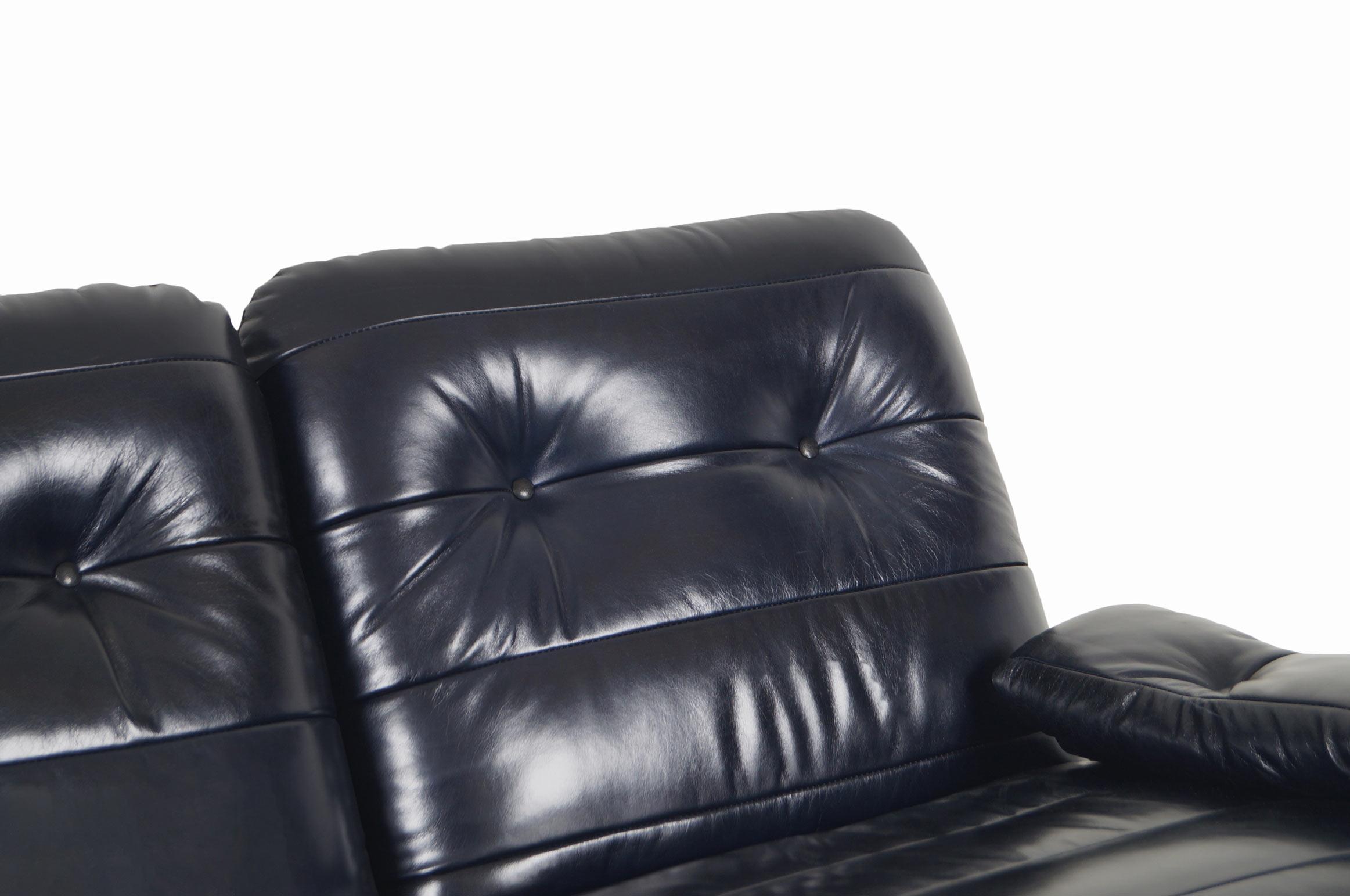 French Leather Marsala Loveseat by Michel Ducaroy