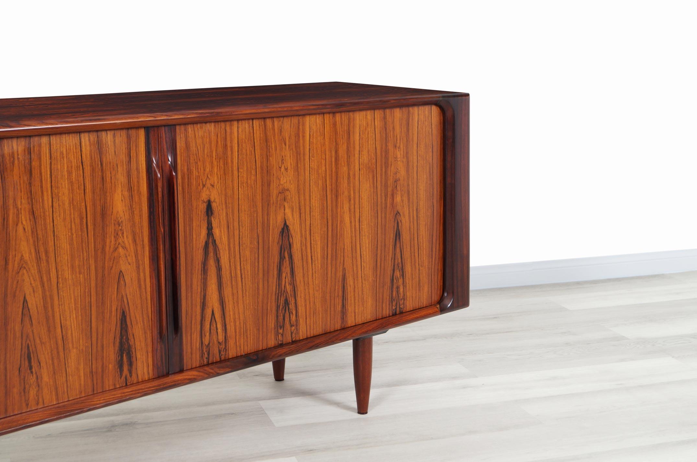 Danish Modern Rosewood Tambour Door Credenza by Bernhard Pedersen & Son