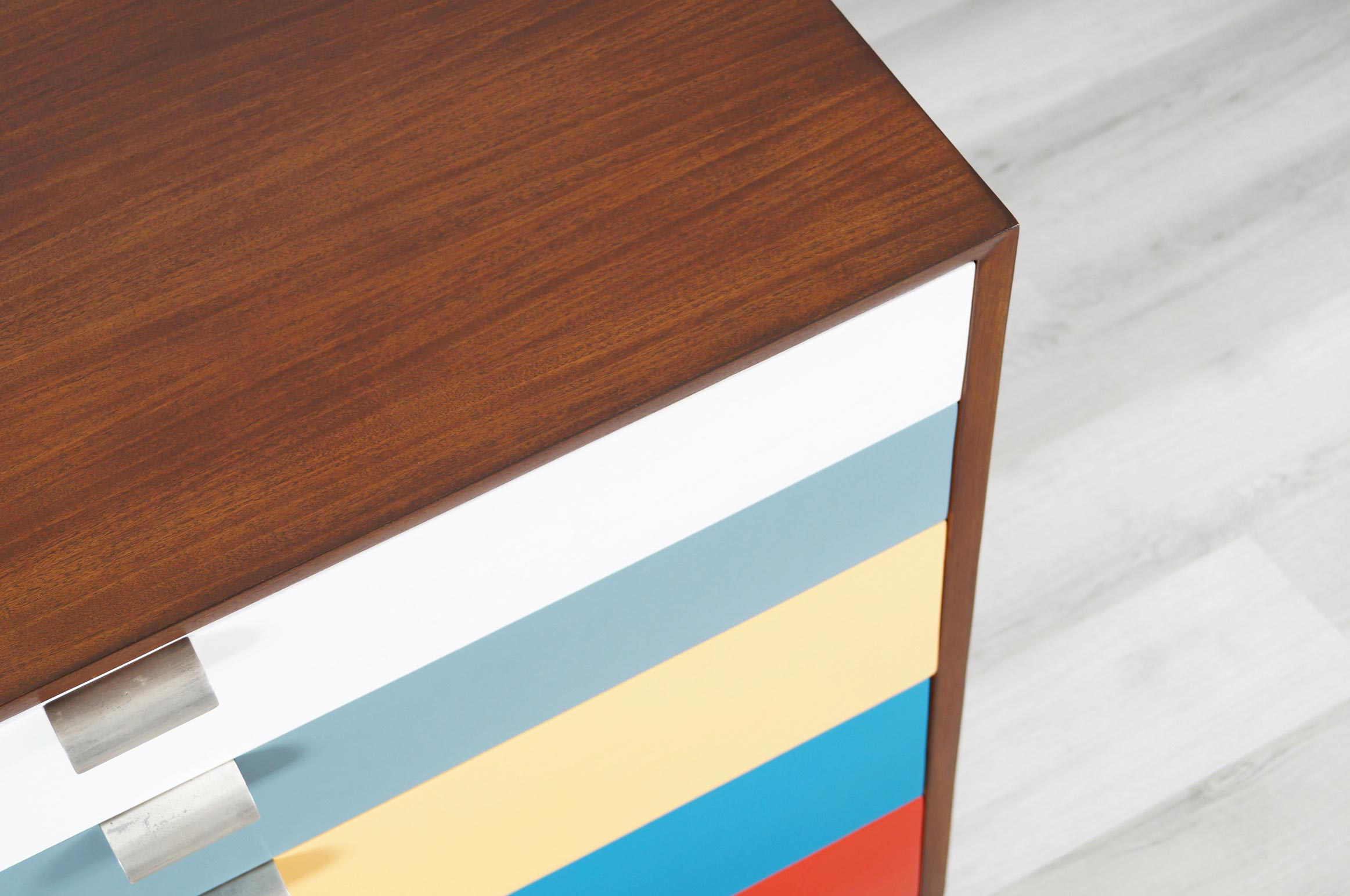 Herman Miller Multi-Color Lacquered & Walnut Chest of Drawers by George Nelson