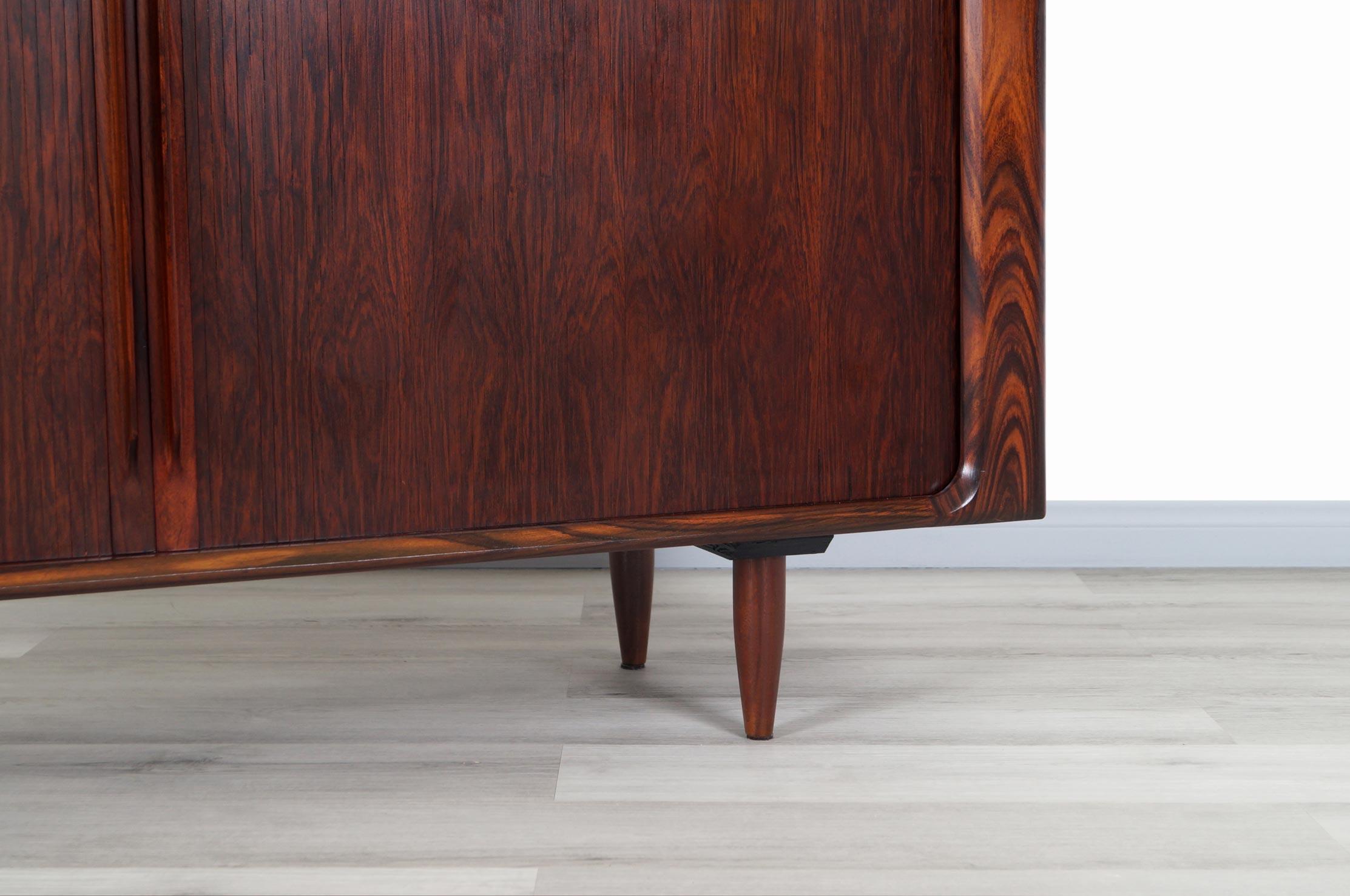 Danish Rosewood Tambour Doors Credenza by Bernhard Pedersen & Son