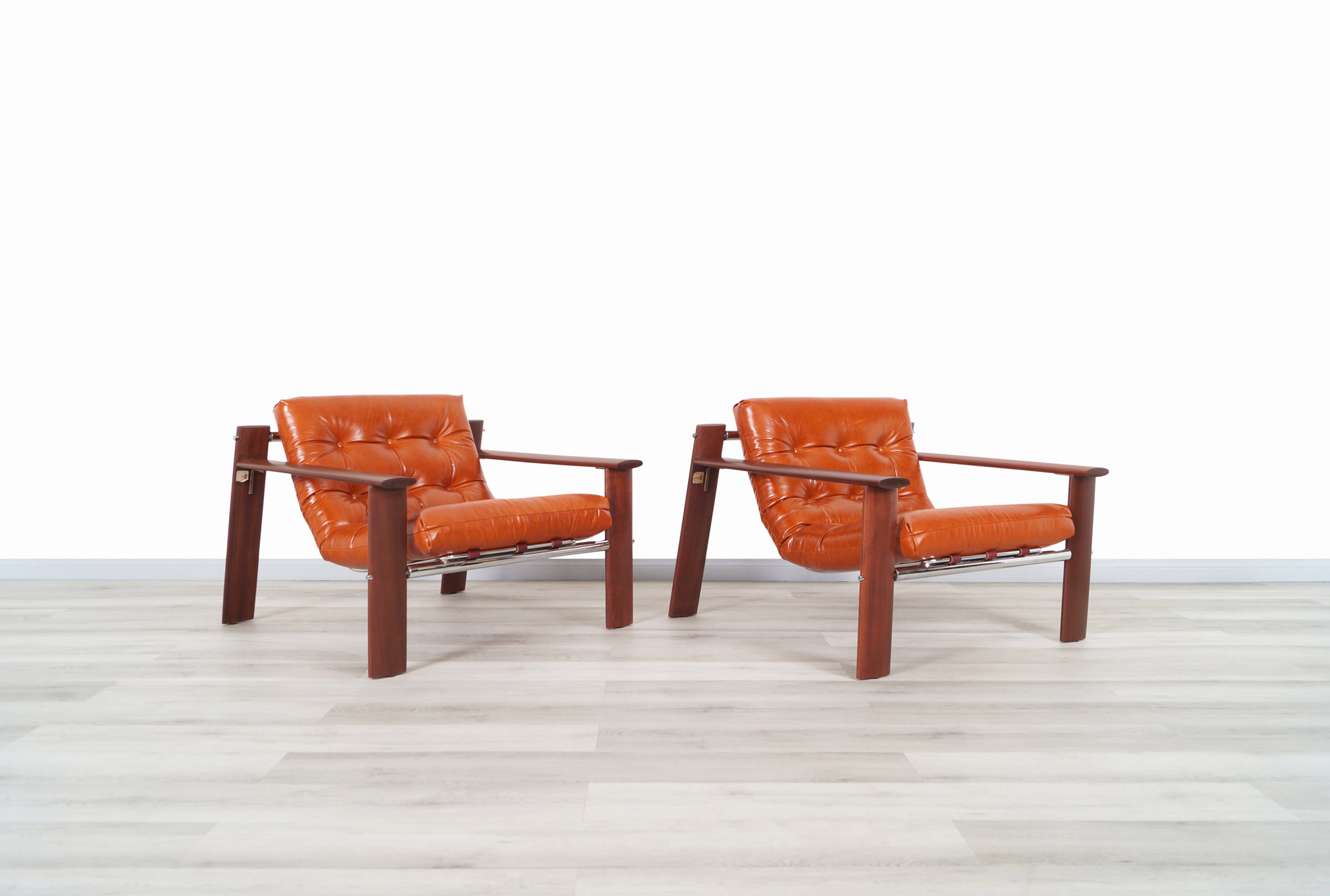 Brazilian MP-129 Jacaranda and Leather Lounge Chairs by Percival Lafer