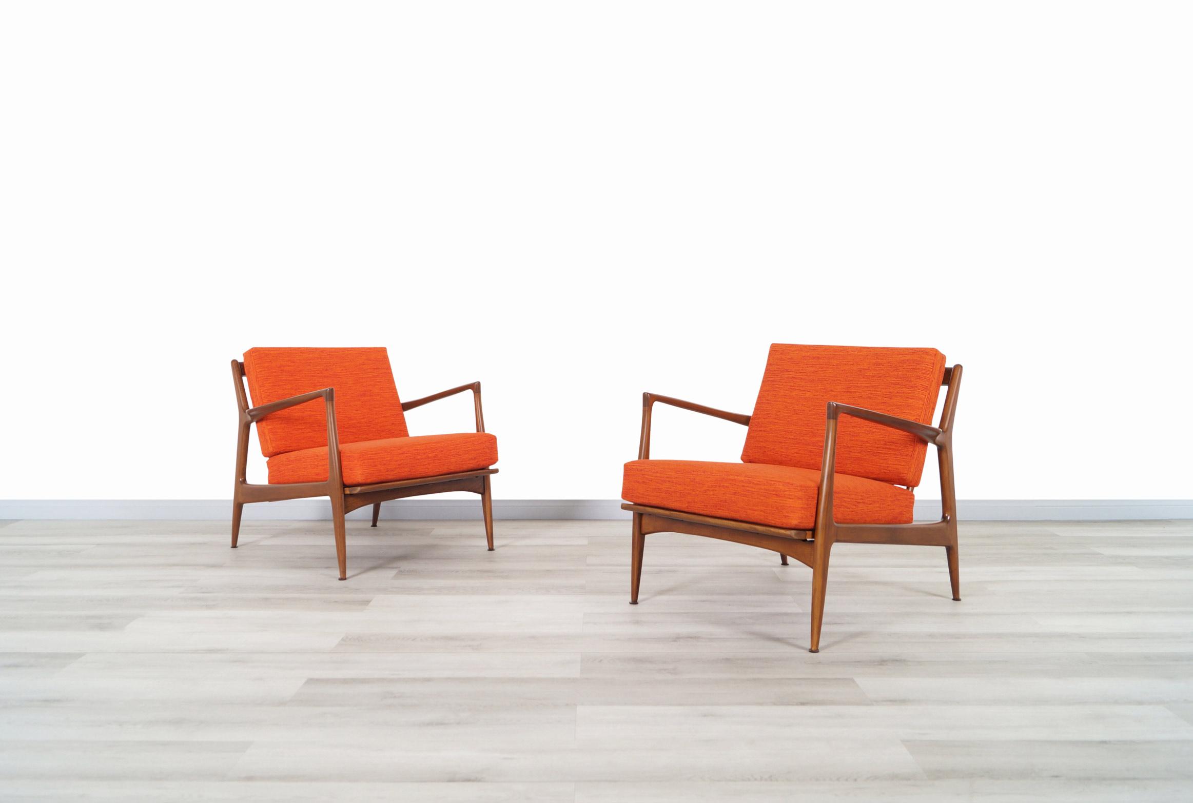 Danish Modern Walnut Lounge Chairs by Ib Kofod Larsen