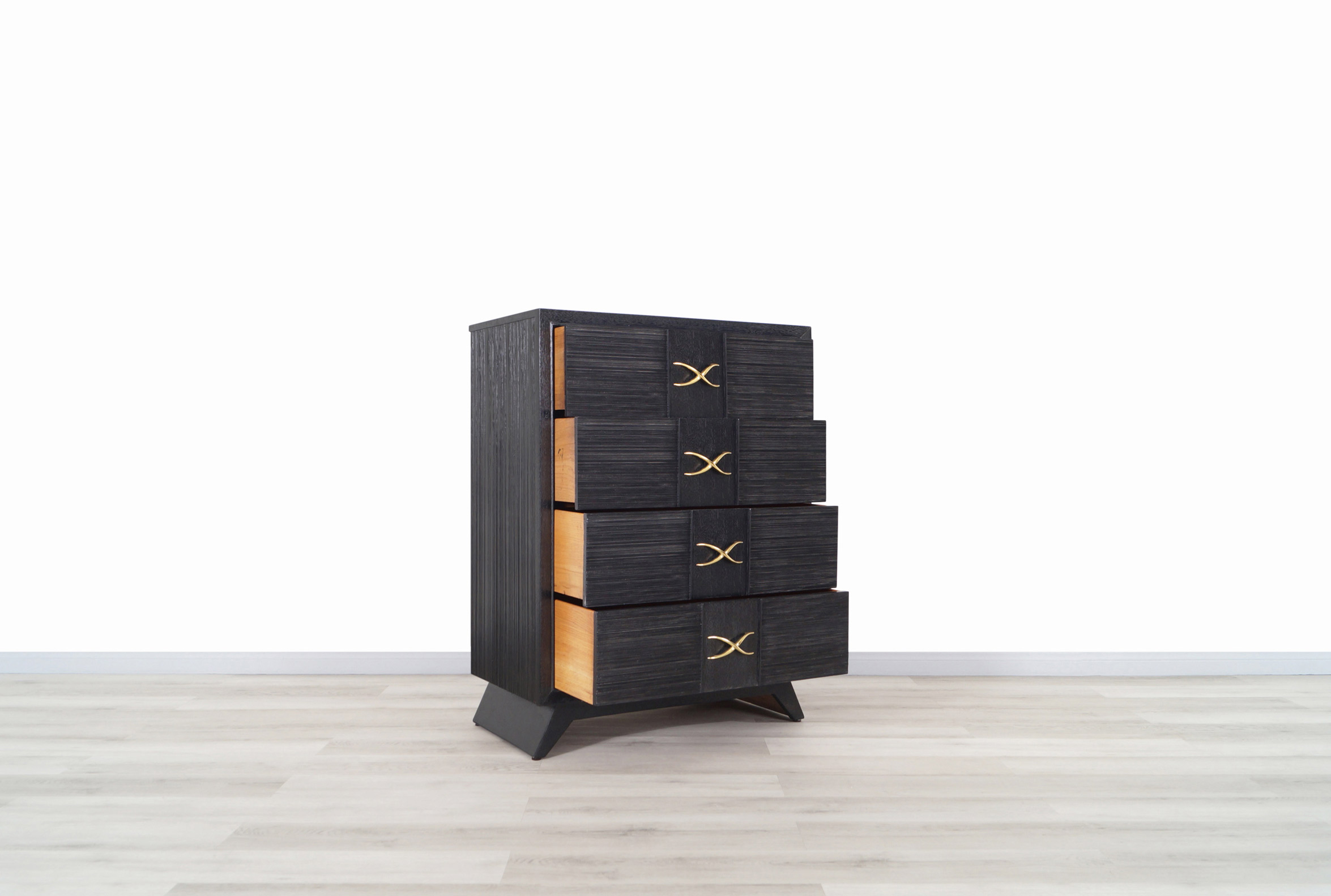 Brown Saltman Cerused and Brass Chest of Drawers by Paul Frankl