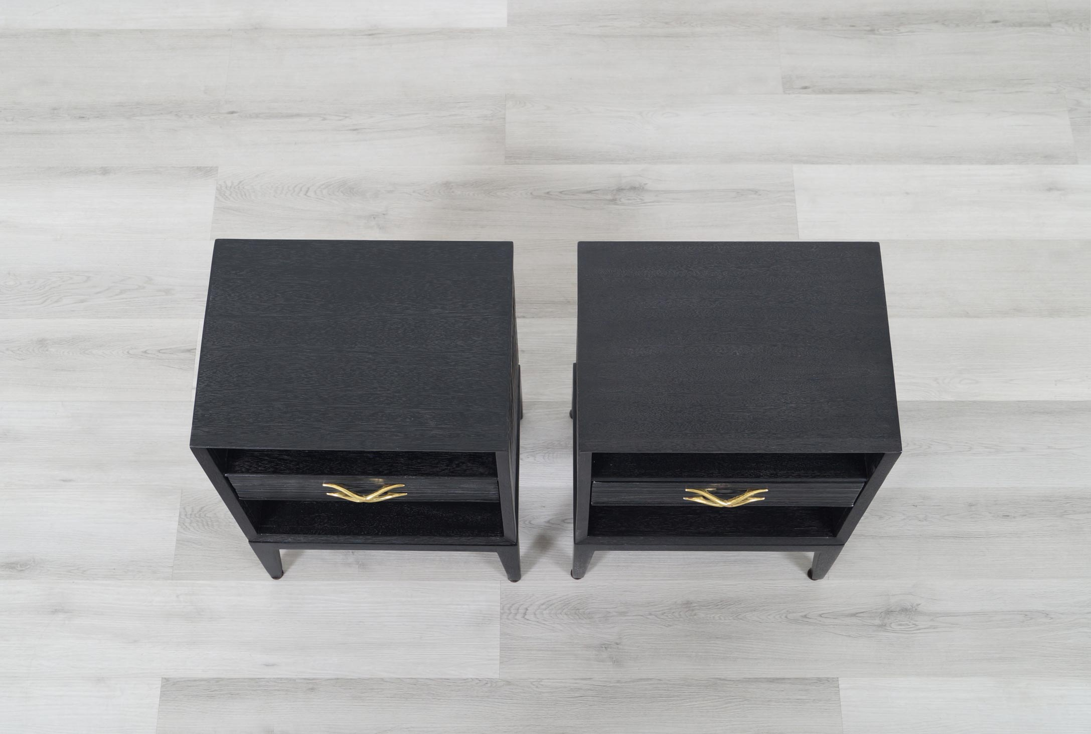Paul Frankl Cerused and Brass Nightstands for Brown Saltman