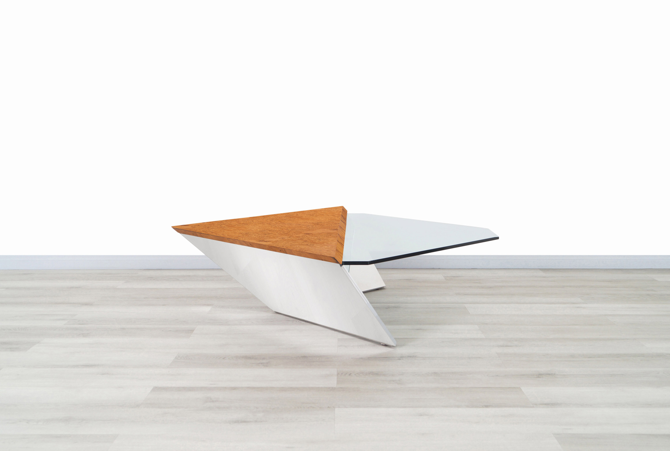Vintage Stainless Steel Cantilevered Coffee Table Attributed to Brueton