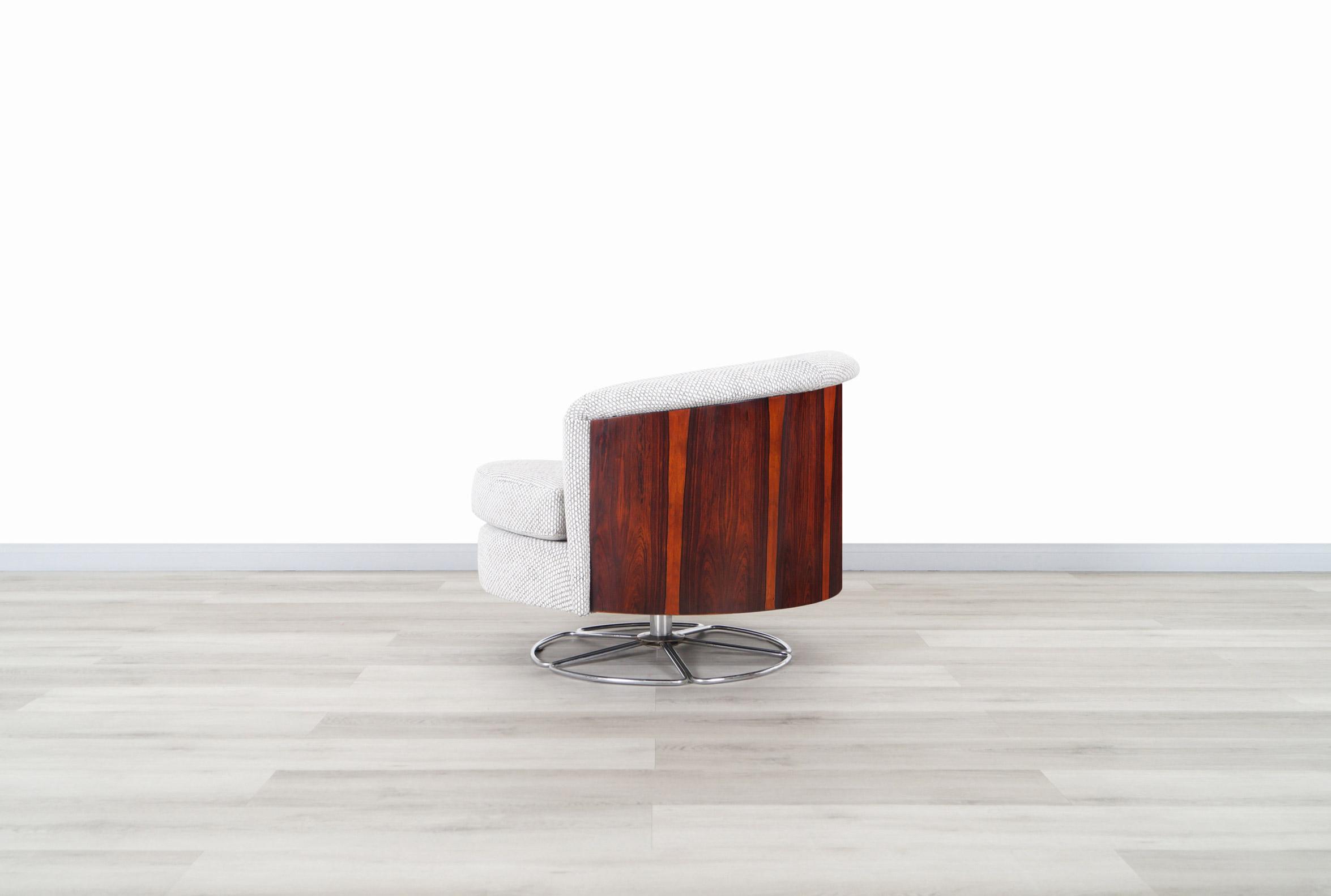 Danish Modern Rosewood Barrel Swivel Lounge Chair by Selig