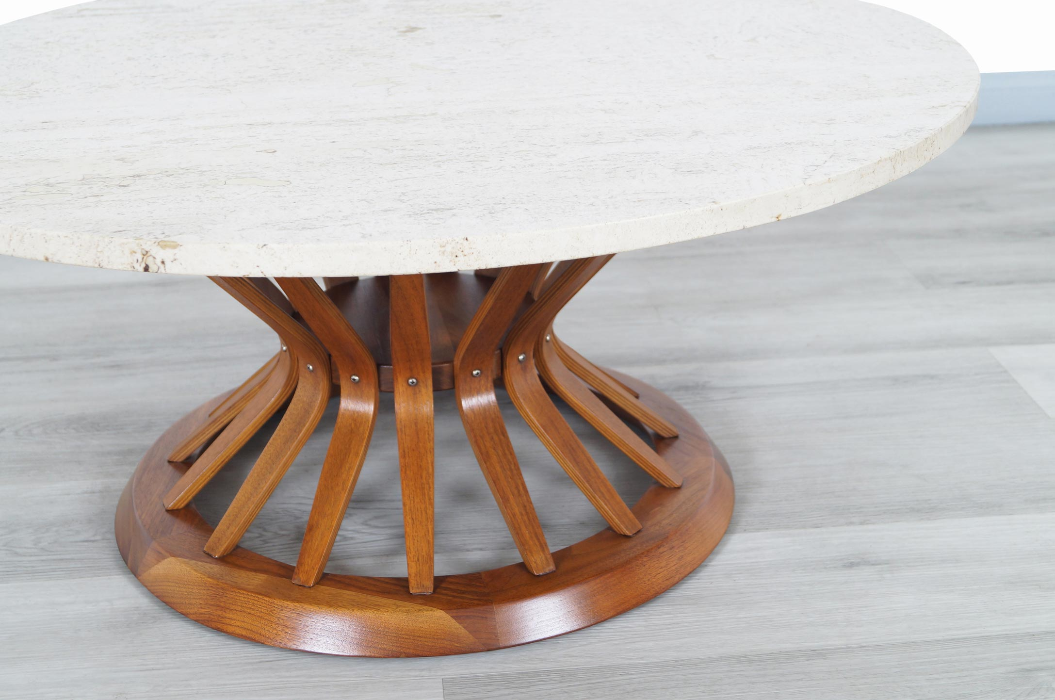 Vintage Travertine and Walnut Coffee Table by Edward Wormely for Dunbar