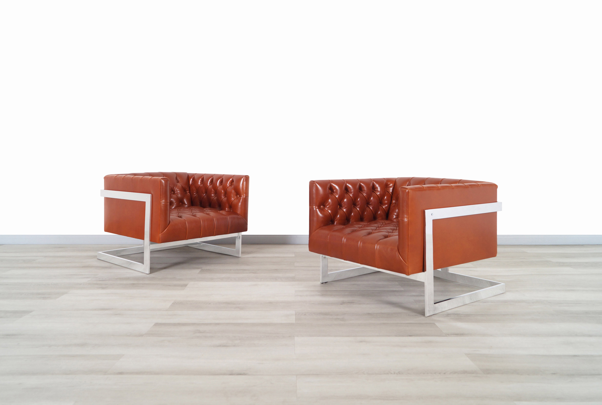 Vintage Leather Cube Lounge Chairs by Milo Baughman for Thayer Coggin