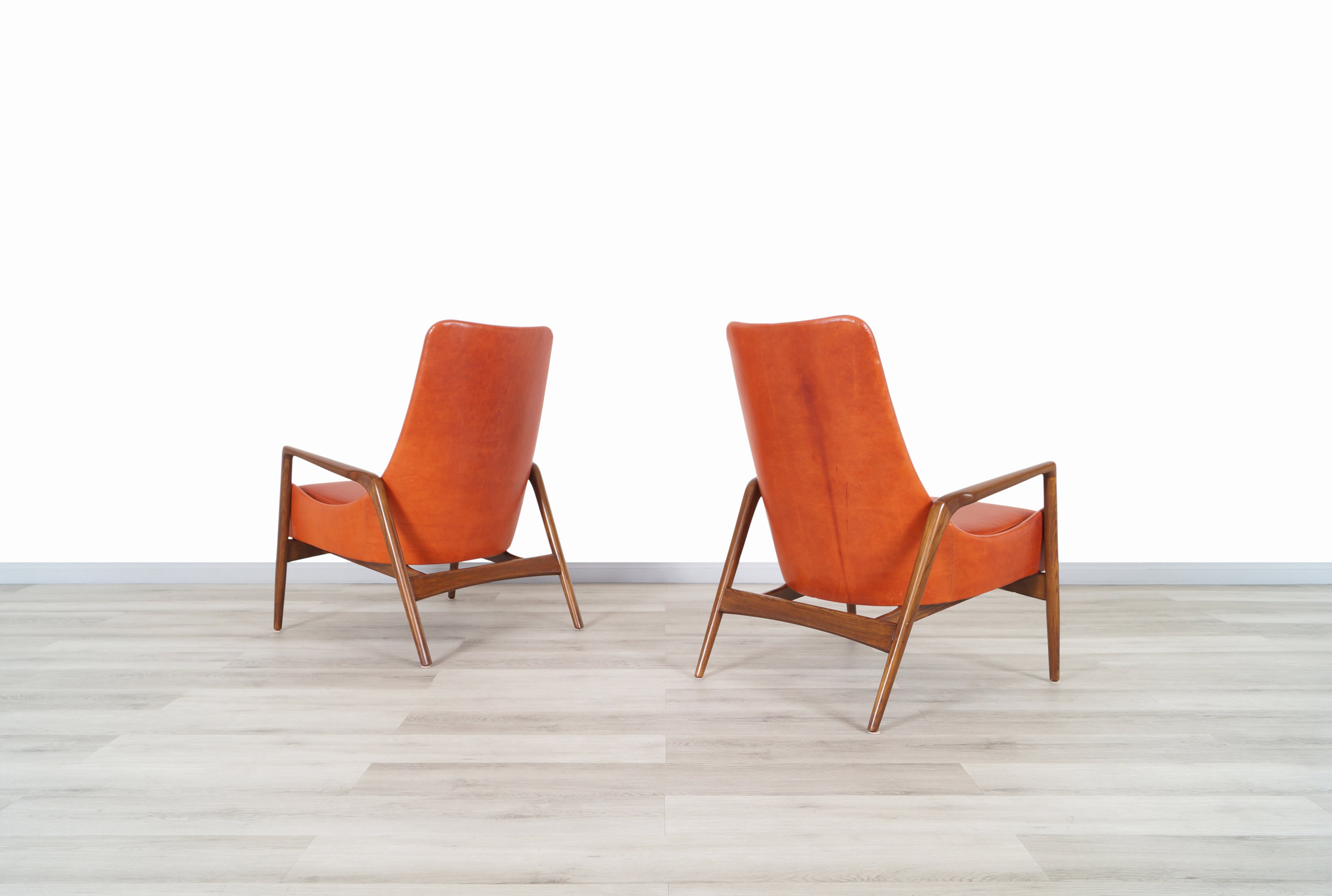 Danish Leather High Back Lounge Chairs by Ib Kofod Larsen