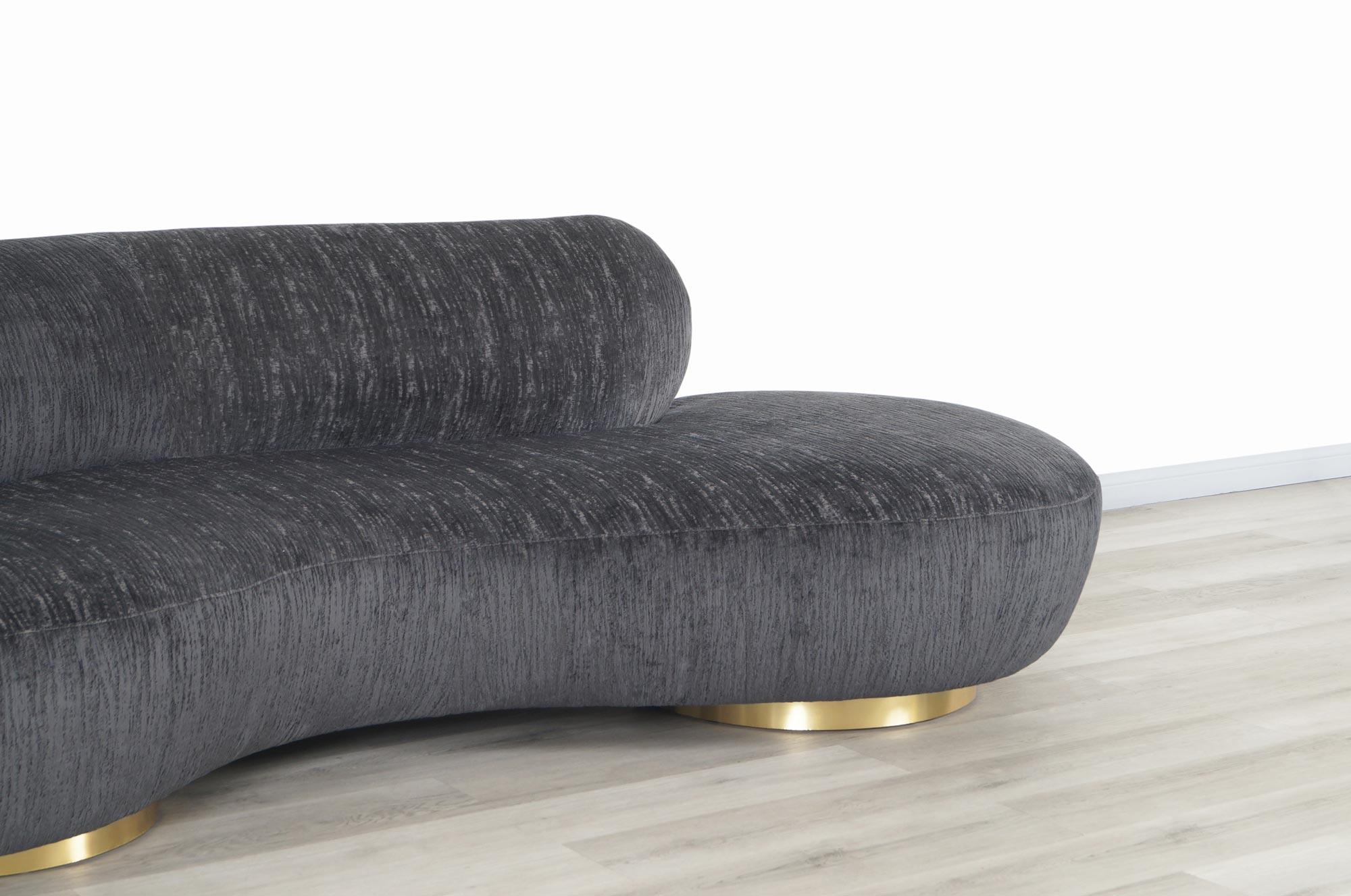 Vintage Brass Serpentine Sofa by Vladimir Kagan