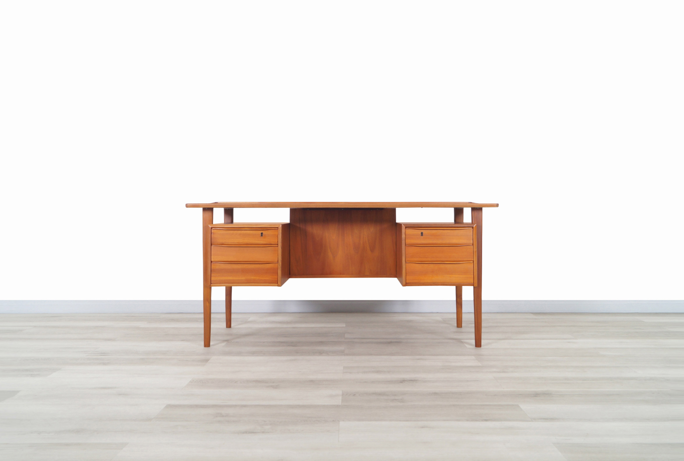Danish Modern Floating Top Teak Desk by Peter Løvig Nielsen