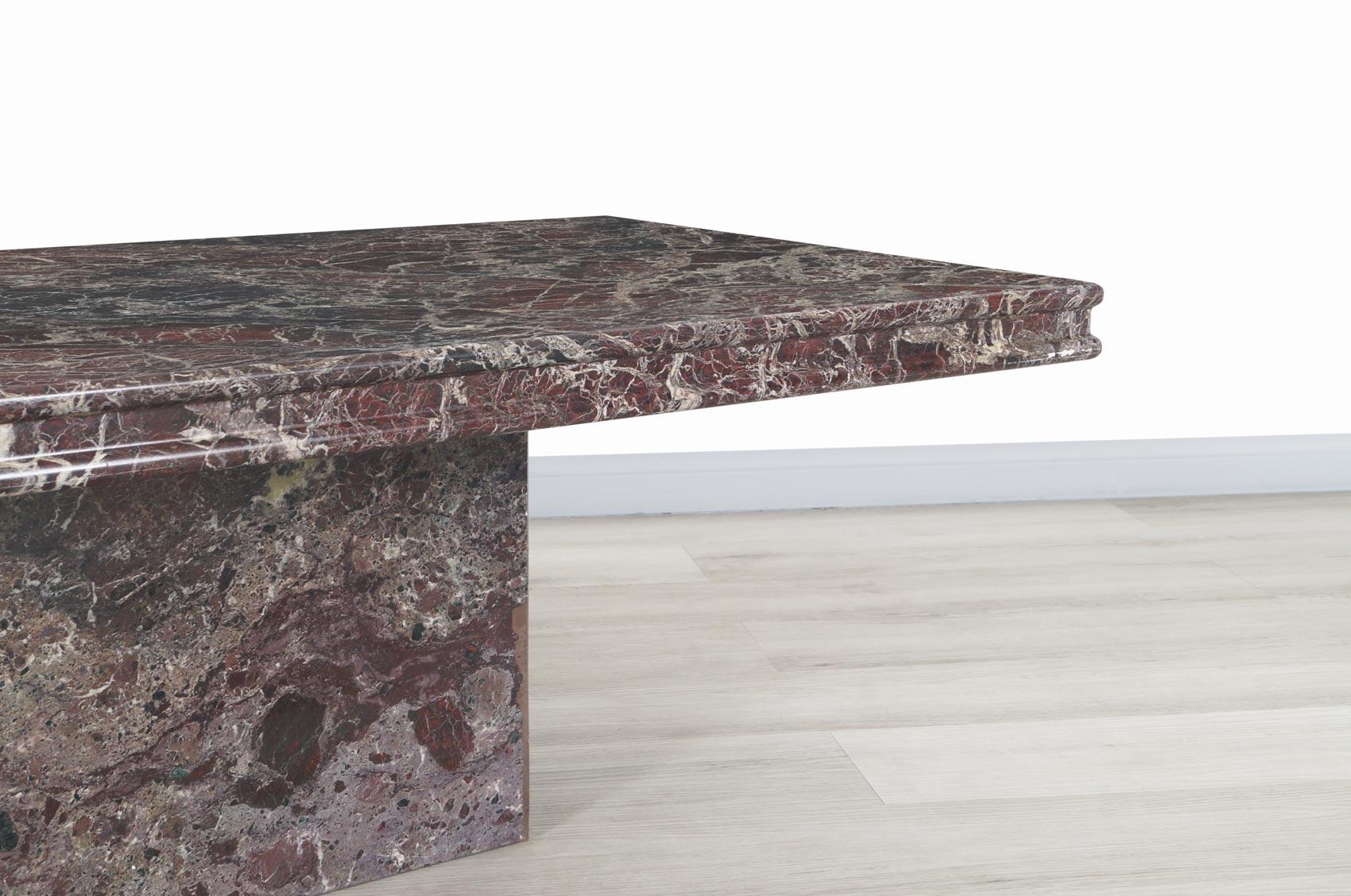 Vintage Italian Rosso Levanto Marble Coffee Table