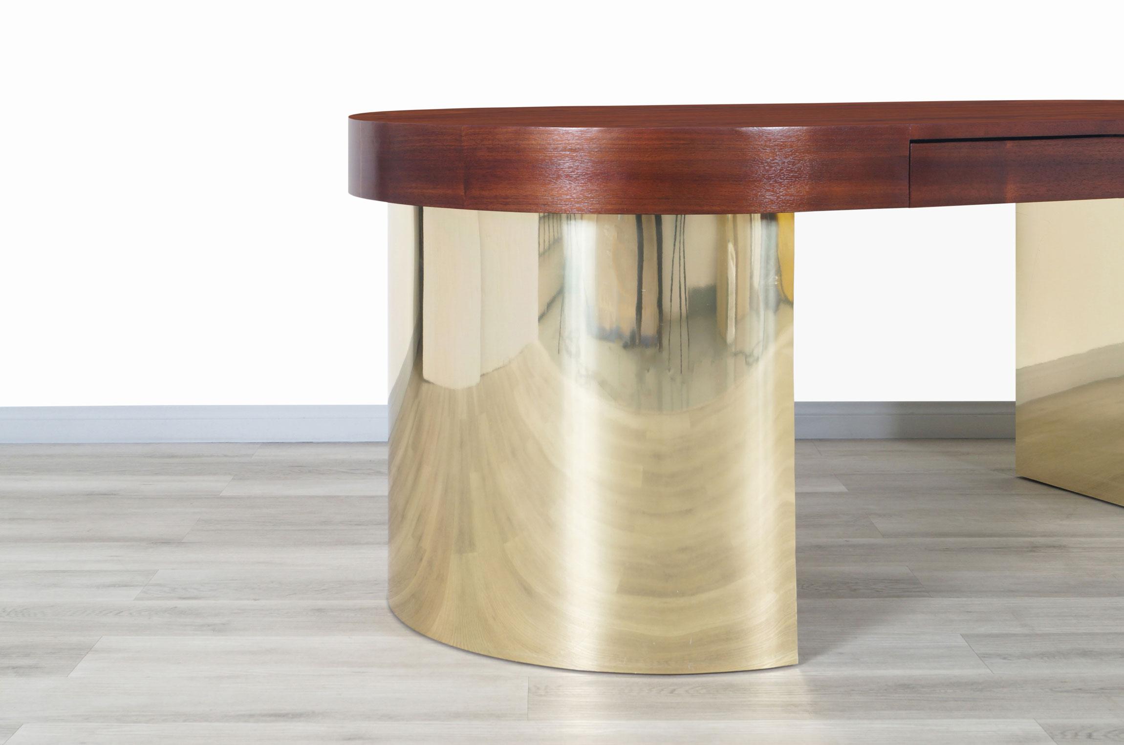 Vintage Walnut and Brass Oval Desk