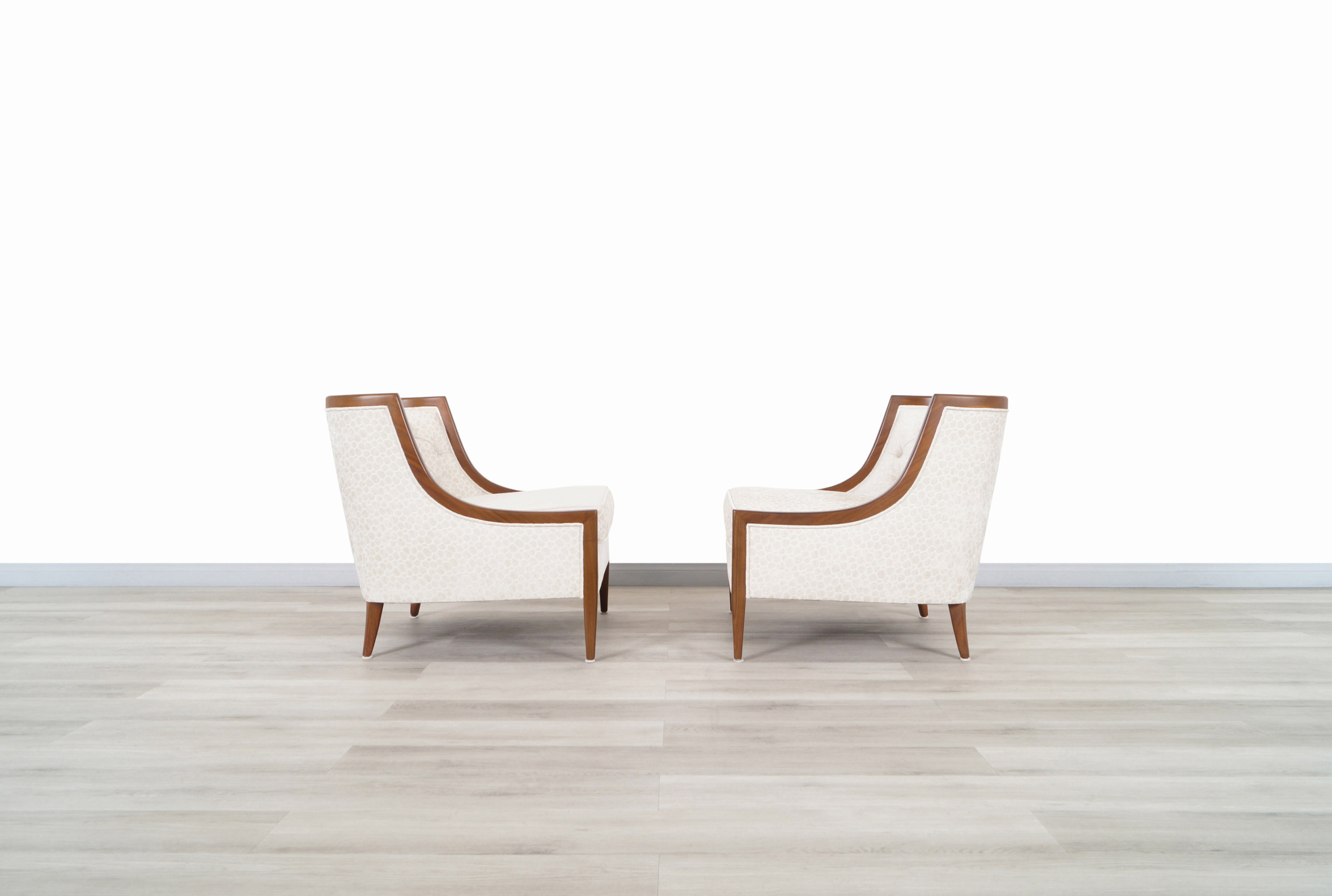 Vintage Sculptural Walnut Lounge Chairs in the Manner of Erwin Lambeth
