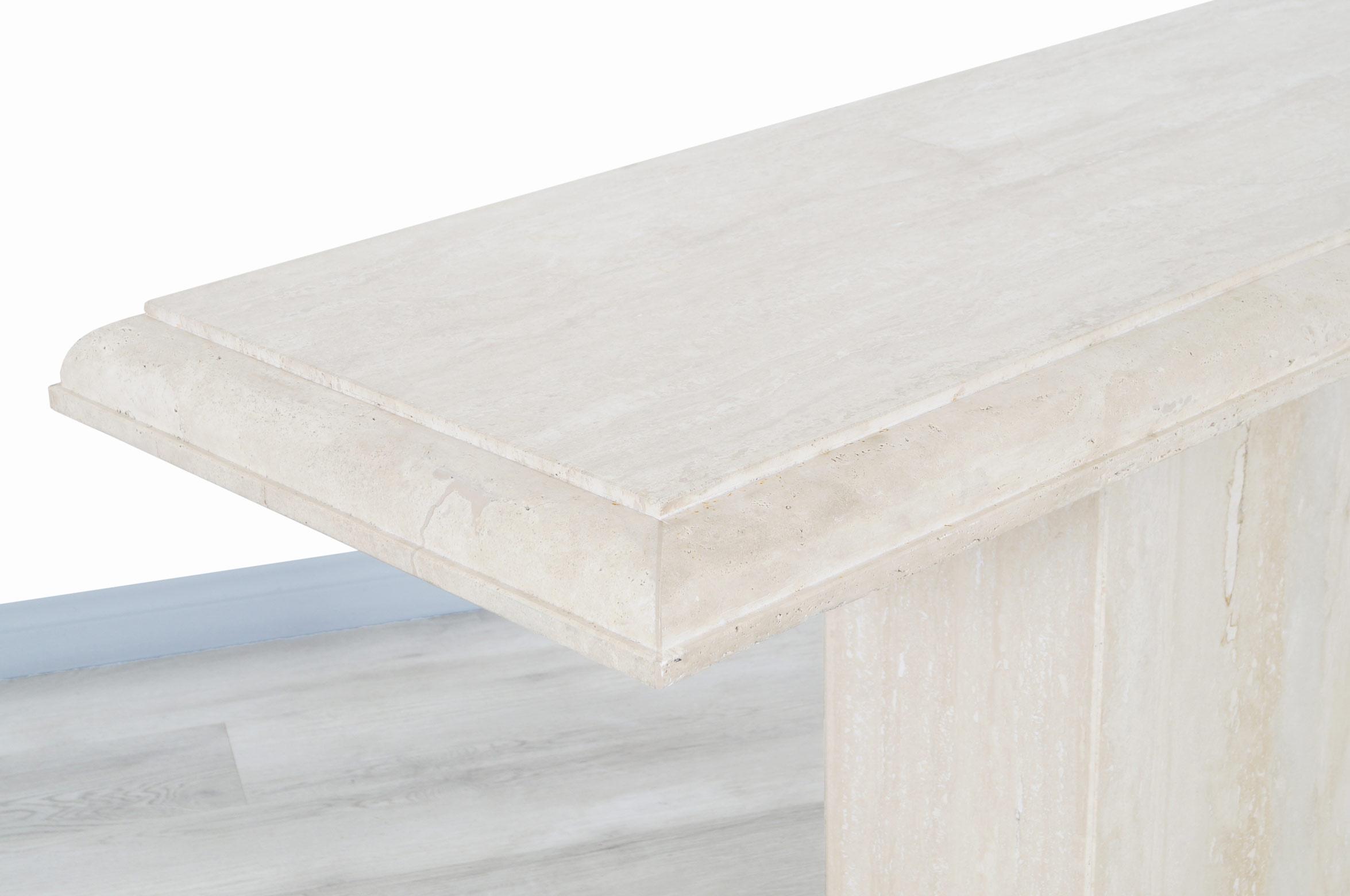 Italian Modernist Travertine Console Table