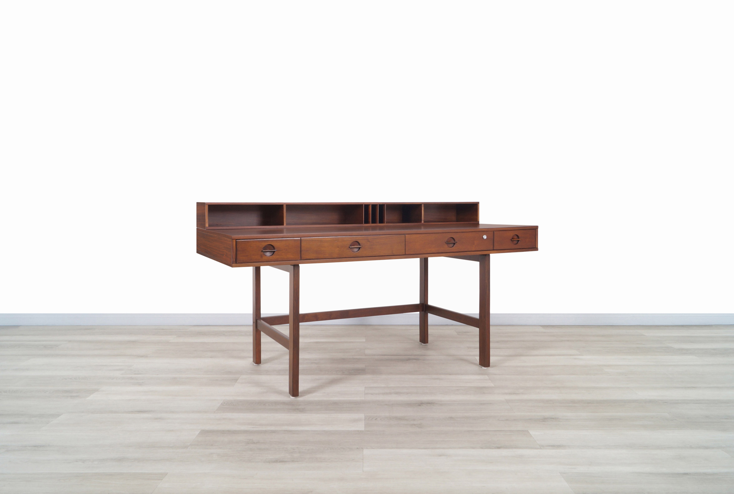 Danish Modern Flip-Top Executive Walnut Desk by Peter Løvig Nielsen