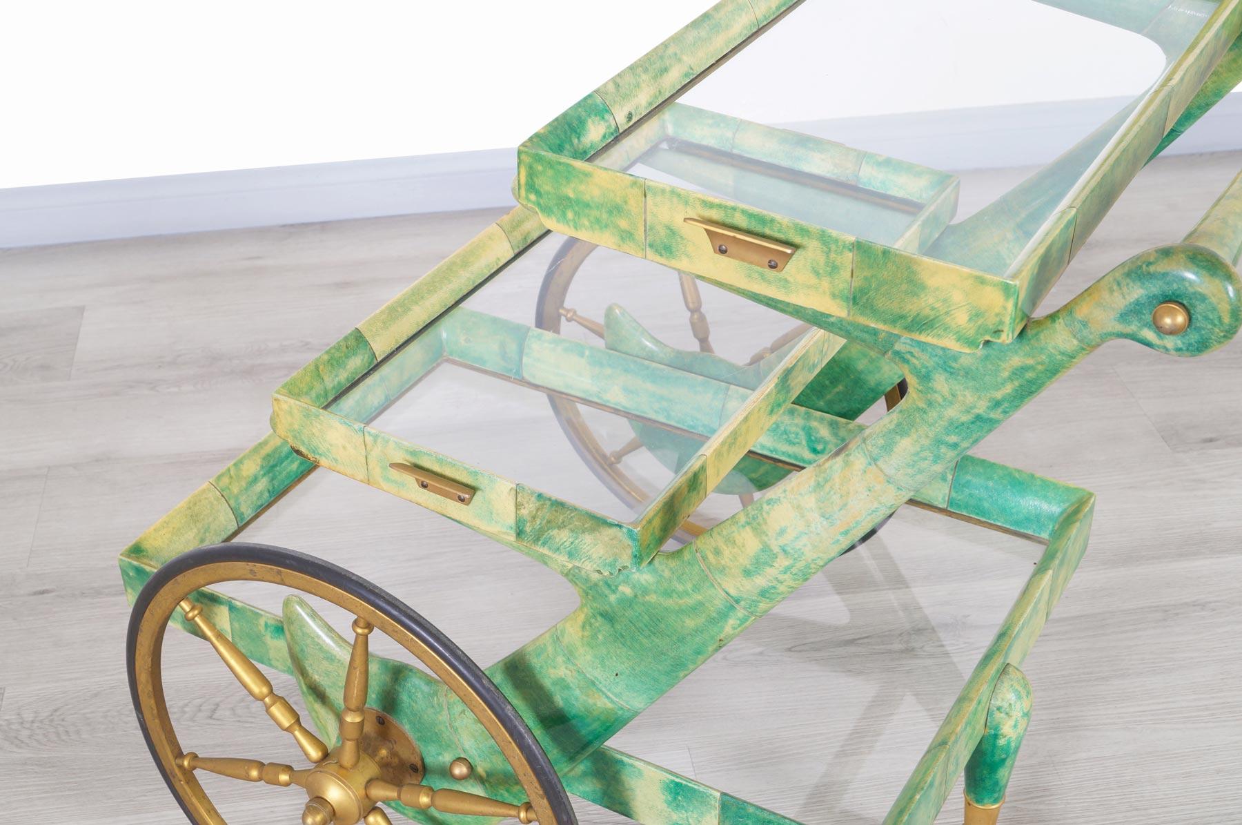 Italian Modernist Goatskin Bar Cart by Aldo Tura