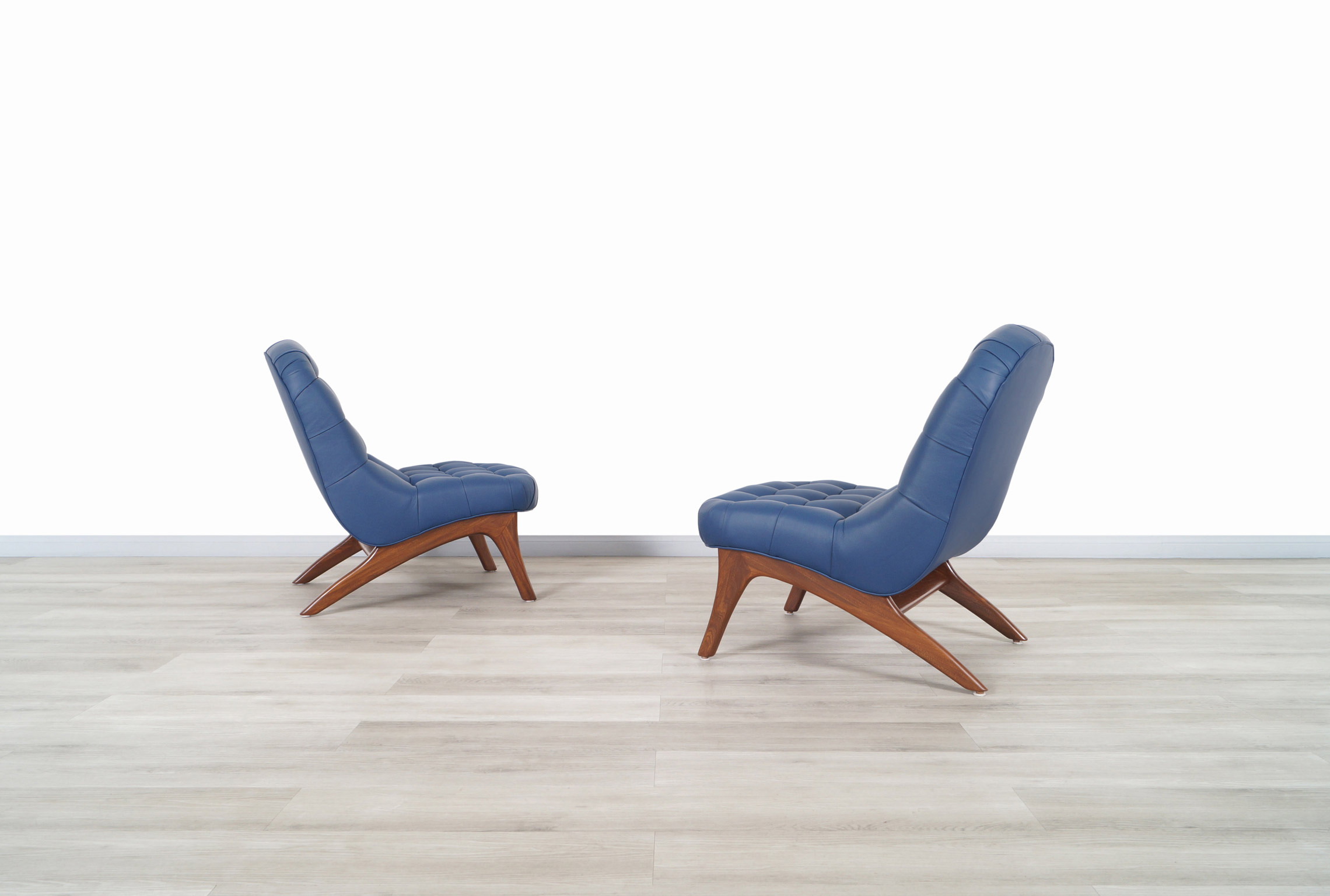 Vintage Leather Tufted Slipper Chairs Attributed to Adrian Pearsall