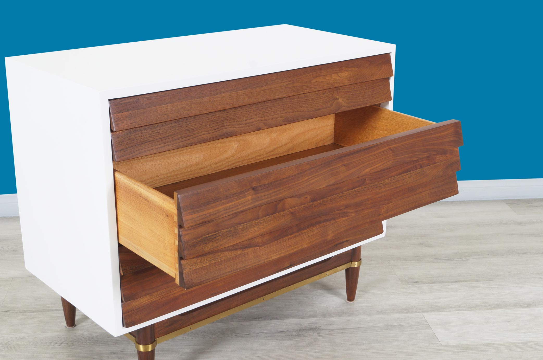 Vintage Walnut and Lacquered Chest of Drawers by Merton L. Gershun