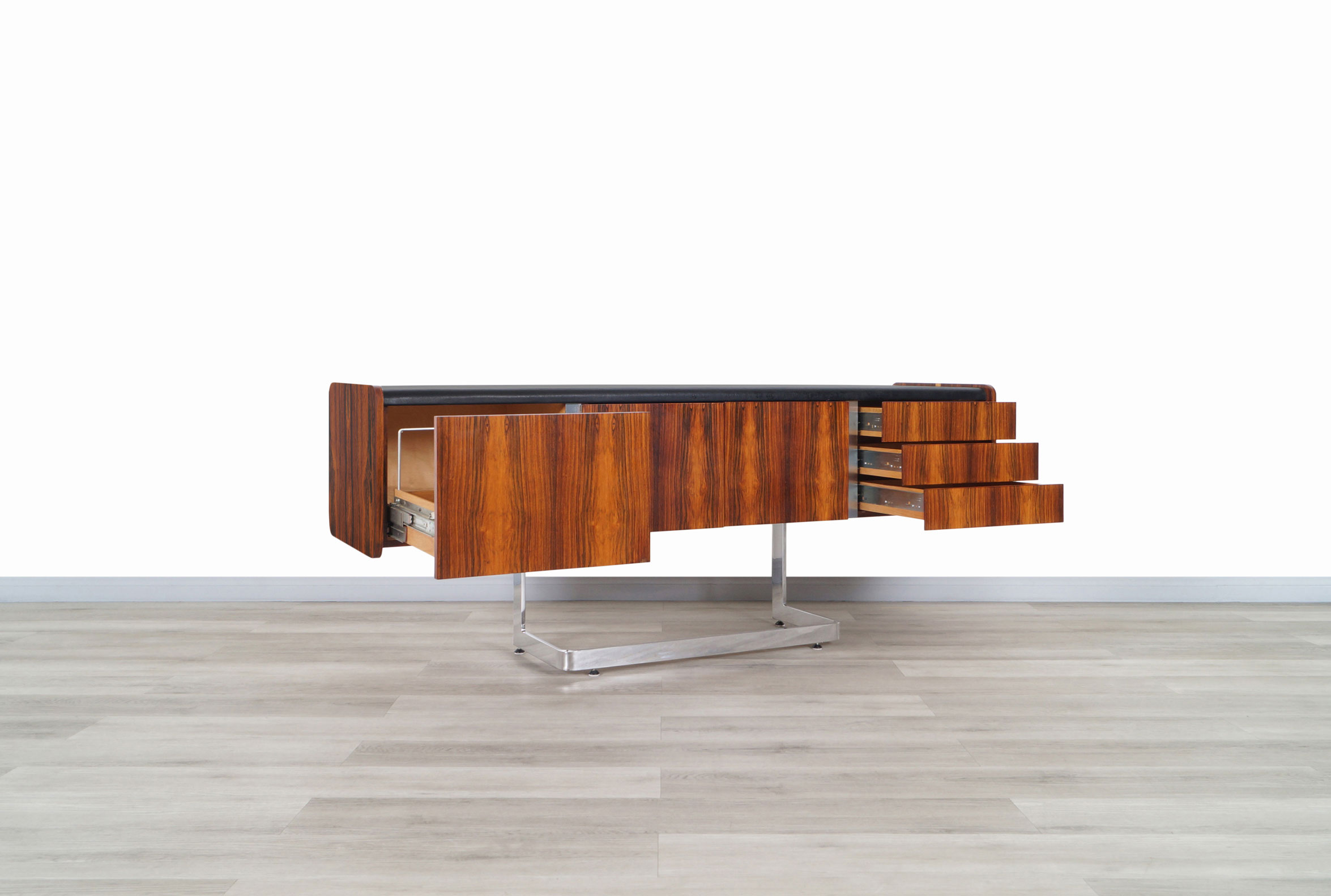 Mid Century Rosewood and Chrome Credenza by Ste. Marie & Laurent
