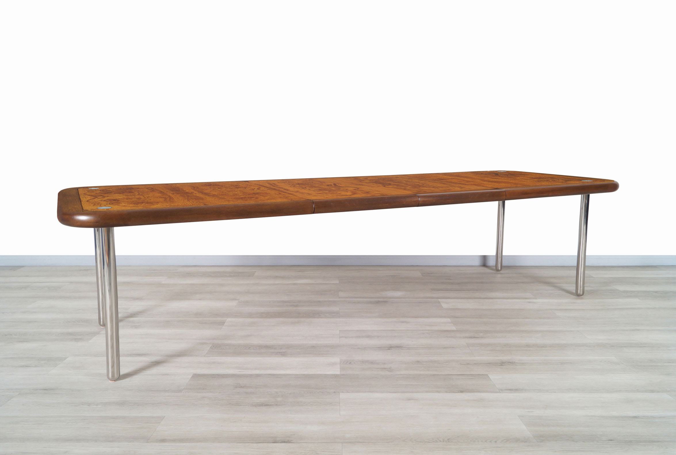Mid Century Expanding Burl Wood and Walnut Dining Table