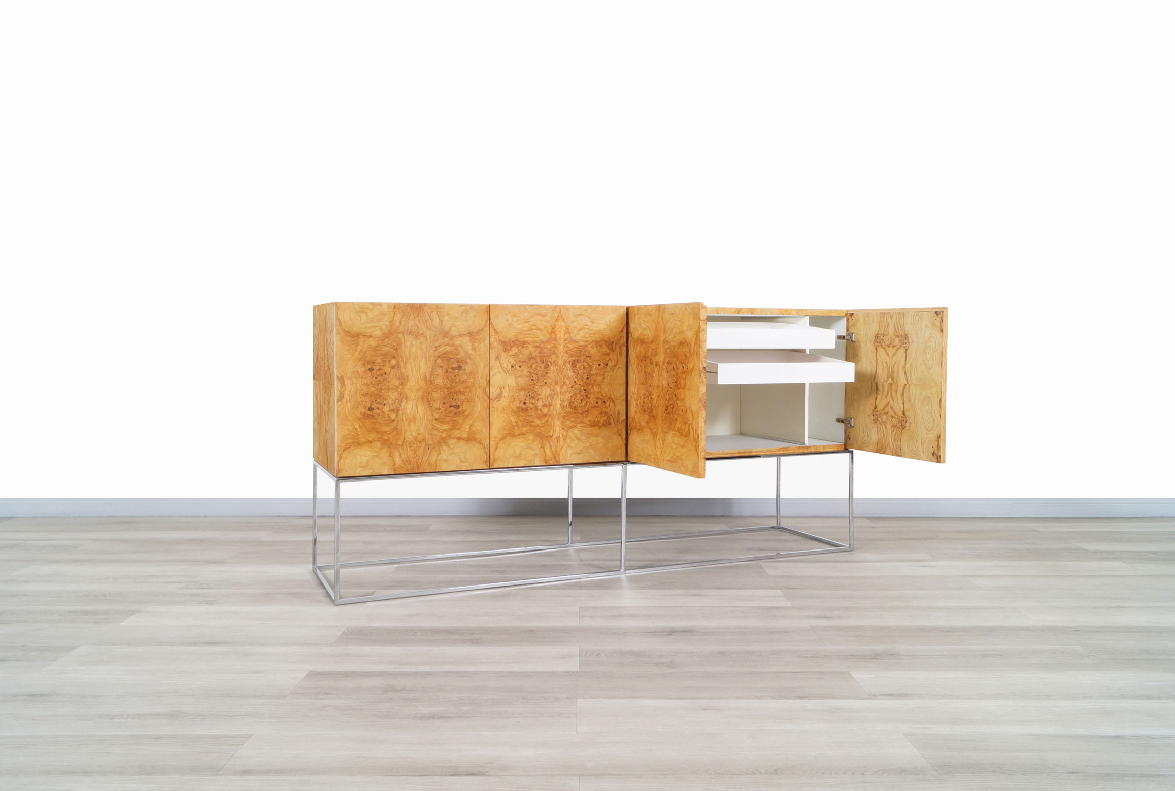 Vintage Burl Wood and Chrome Credenza by Milo Baughman