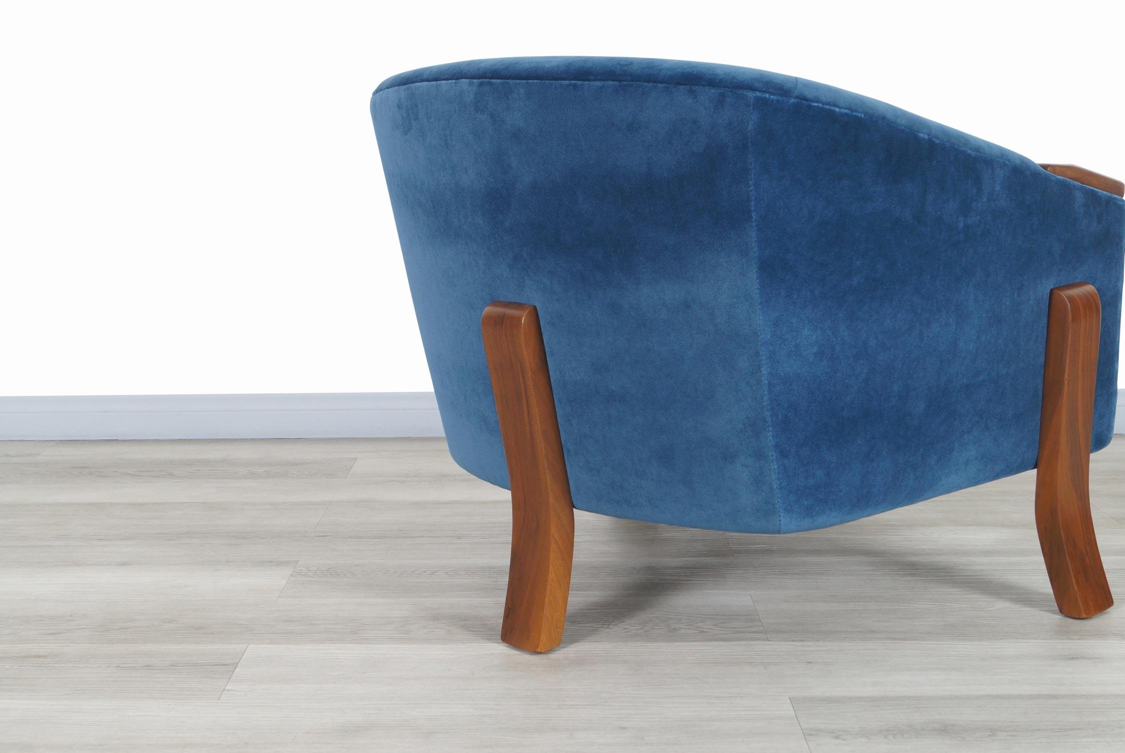 Vintage Walnut Barrel Lounge Chair
