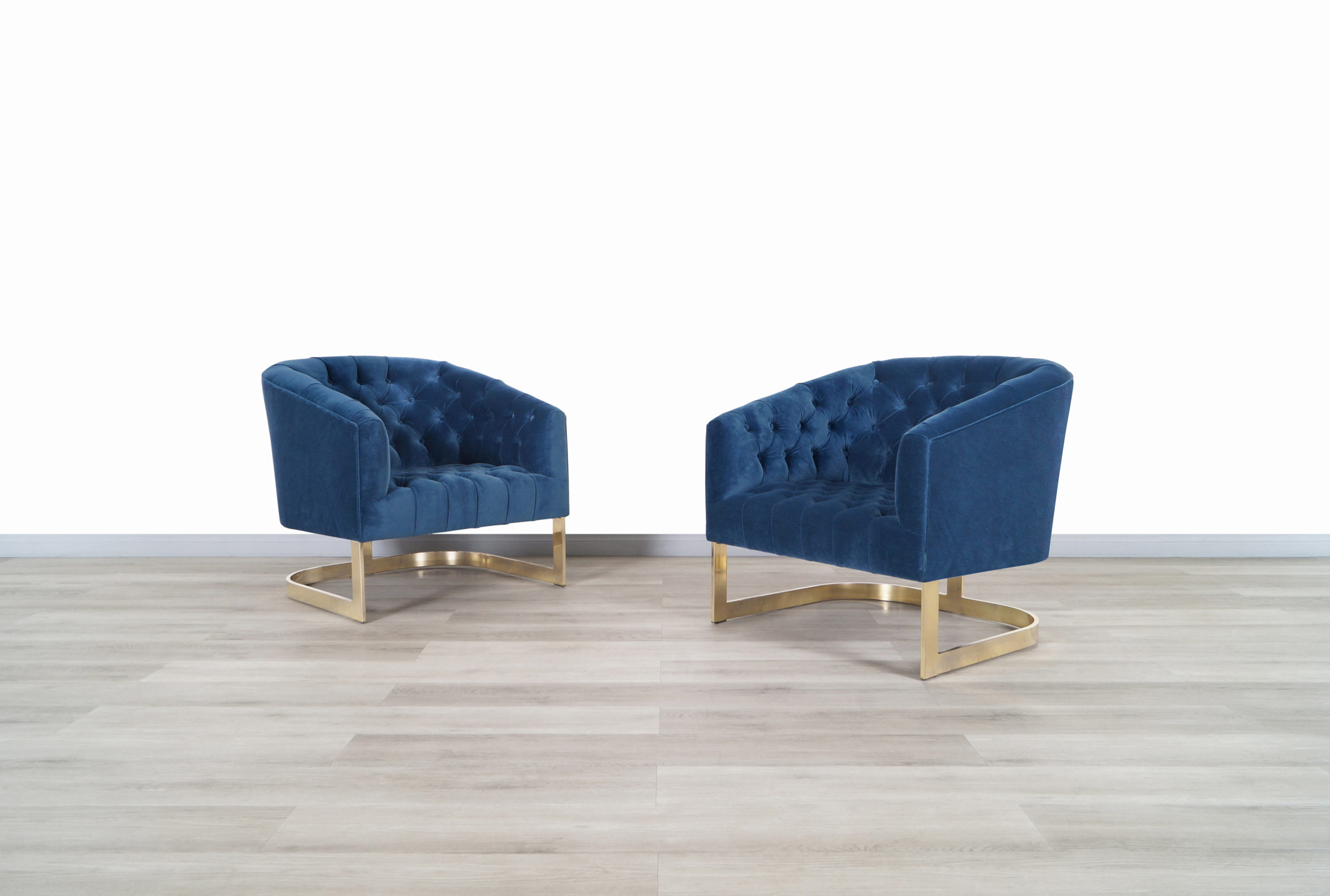 Vintage Brass Lounge Chairs by Milo Baughman
