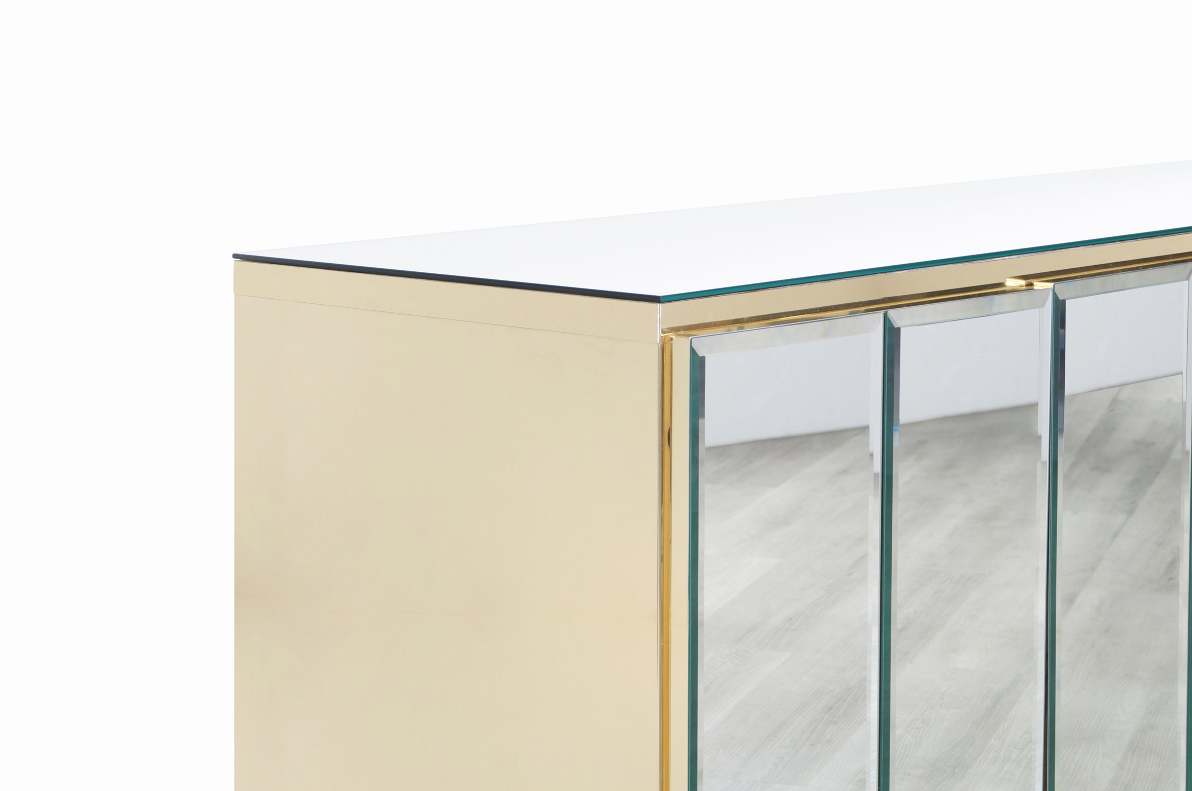 Vintage Mirrored and Glass Credenza by Ello