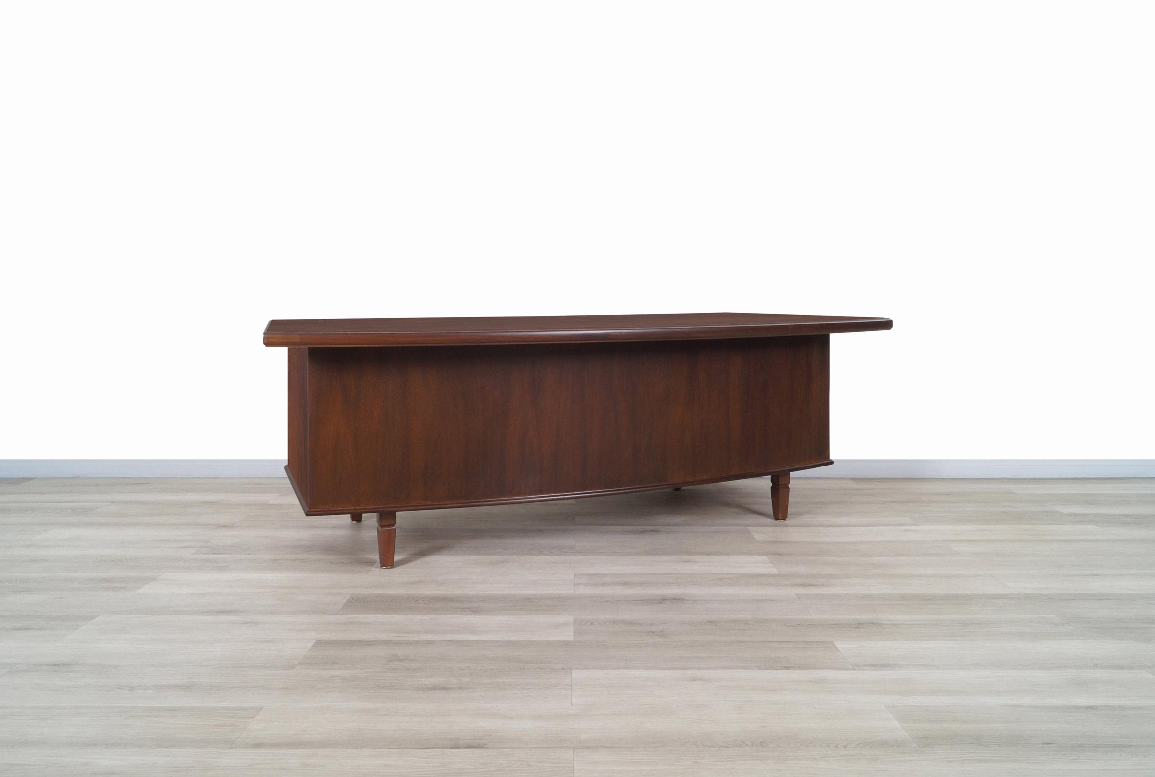 Monumental Executive Walnut Desk by Monteverdi Young