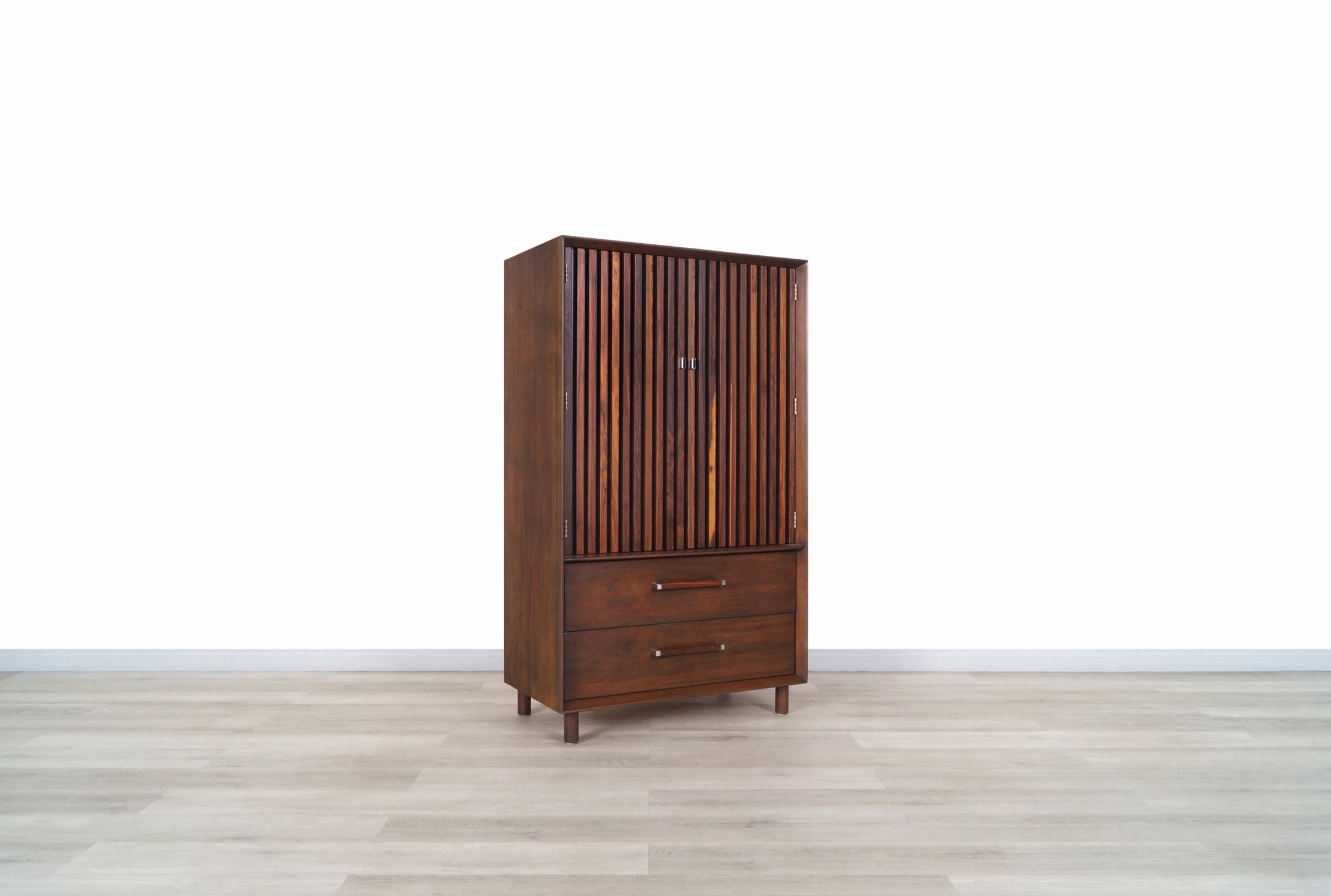 Mid Century Walnut and Rosewood Armoire by Lane