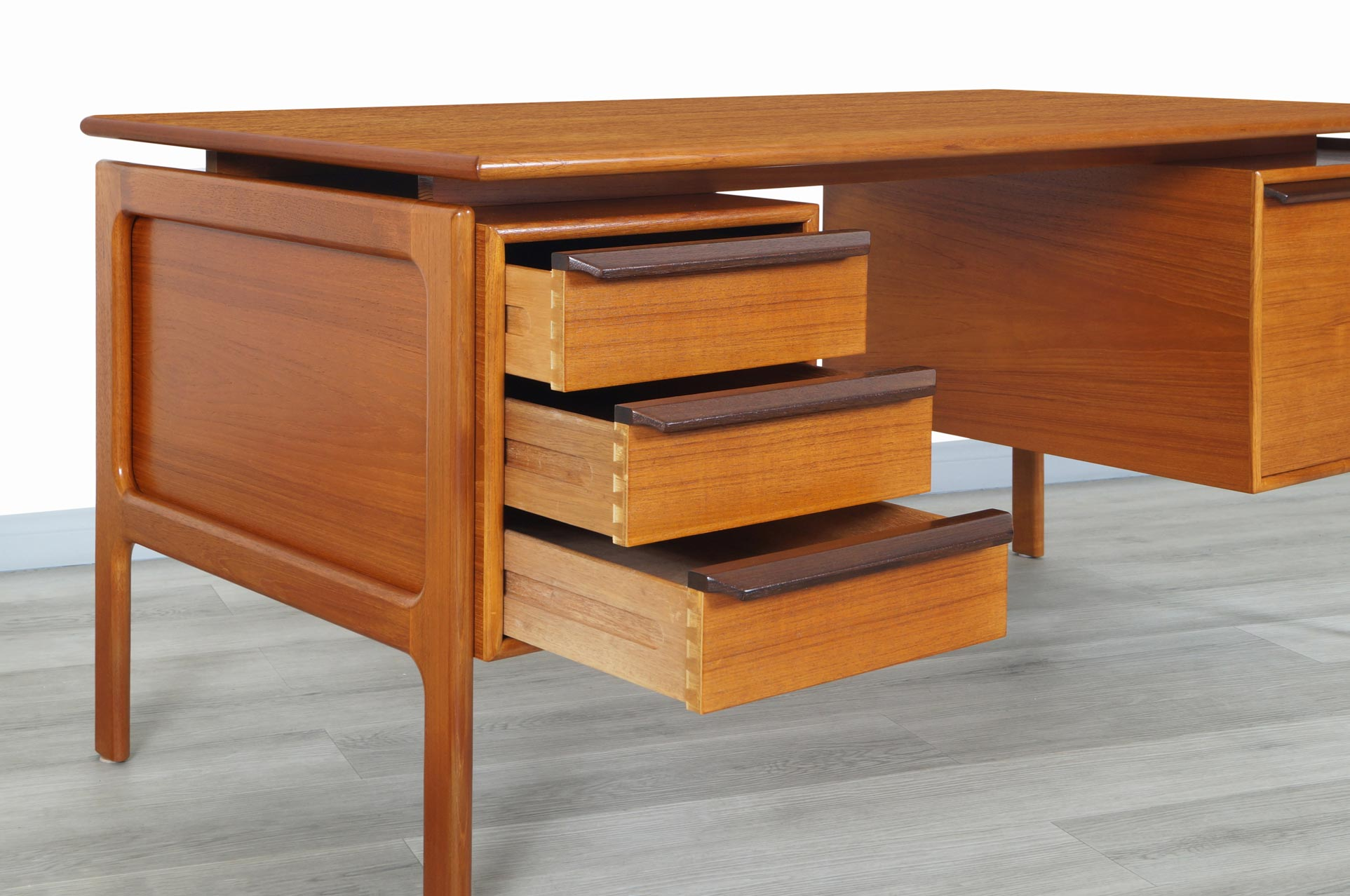 Danish Modern Floating Top Teak Desk by G.V. Møbler