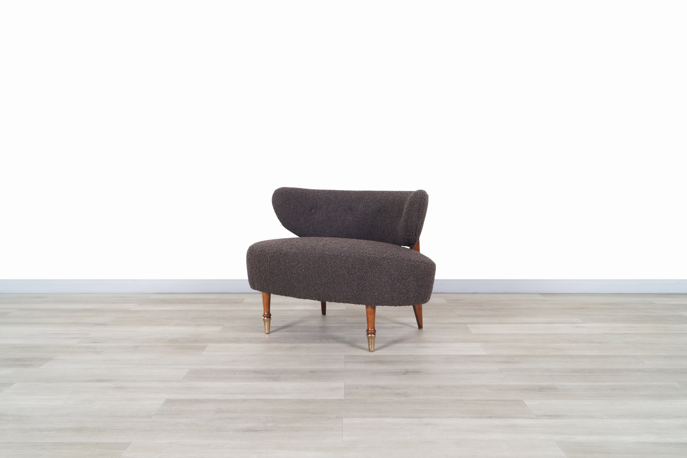 Vintage Boucle and Walnut Horn Chair