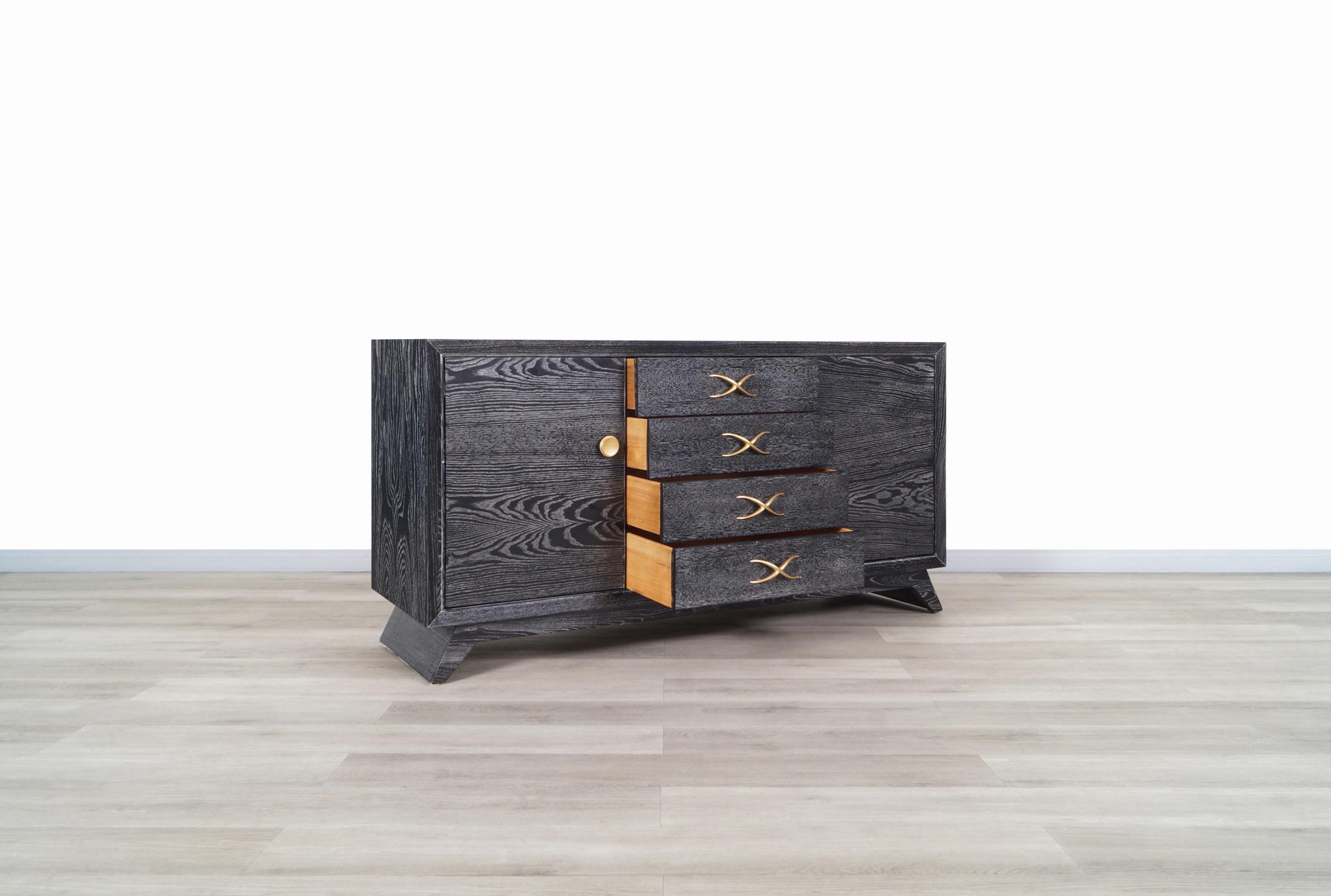 Vintage Cerused and Brass Dresser by Paul Frankl for Brown Saltman