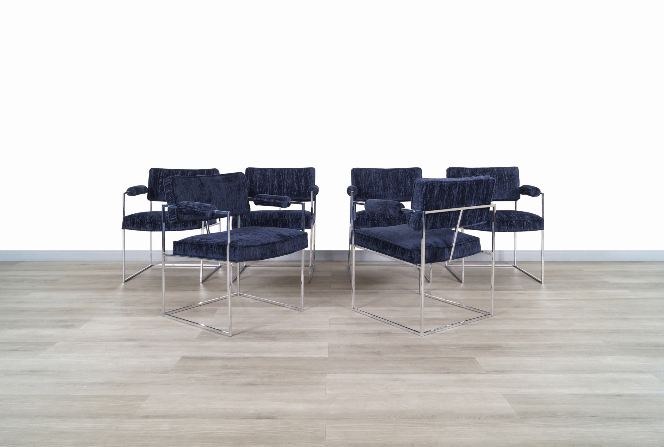 Milo Baughman Chrome Thin Line Dining Chairs for Thayer Coggin