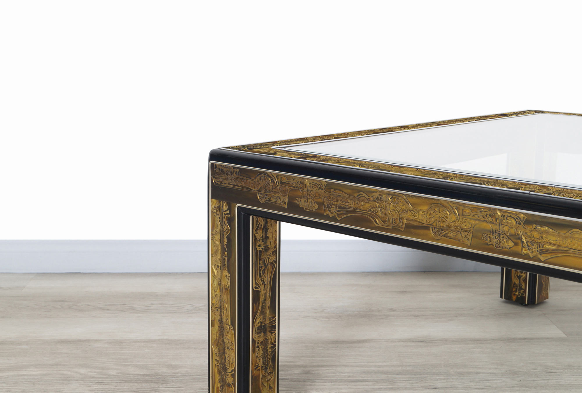 Vintage Acid Etched Brass Coffee Table by Bernard Rohne for Mastercraft