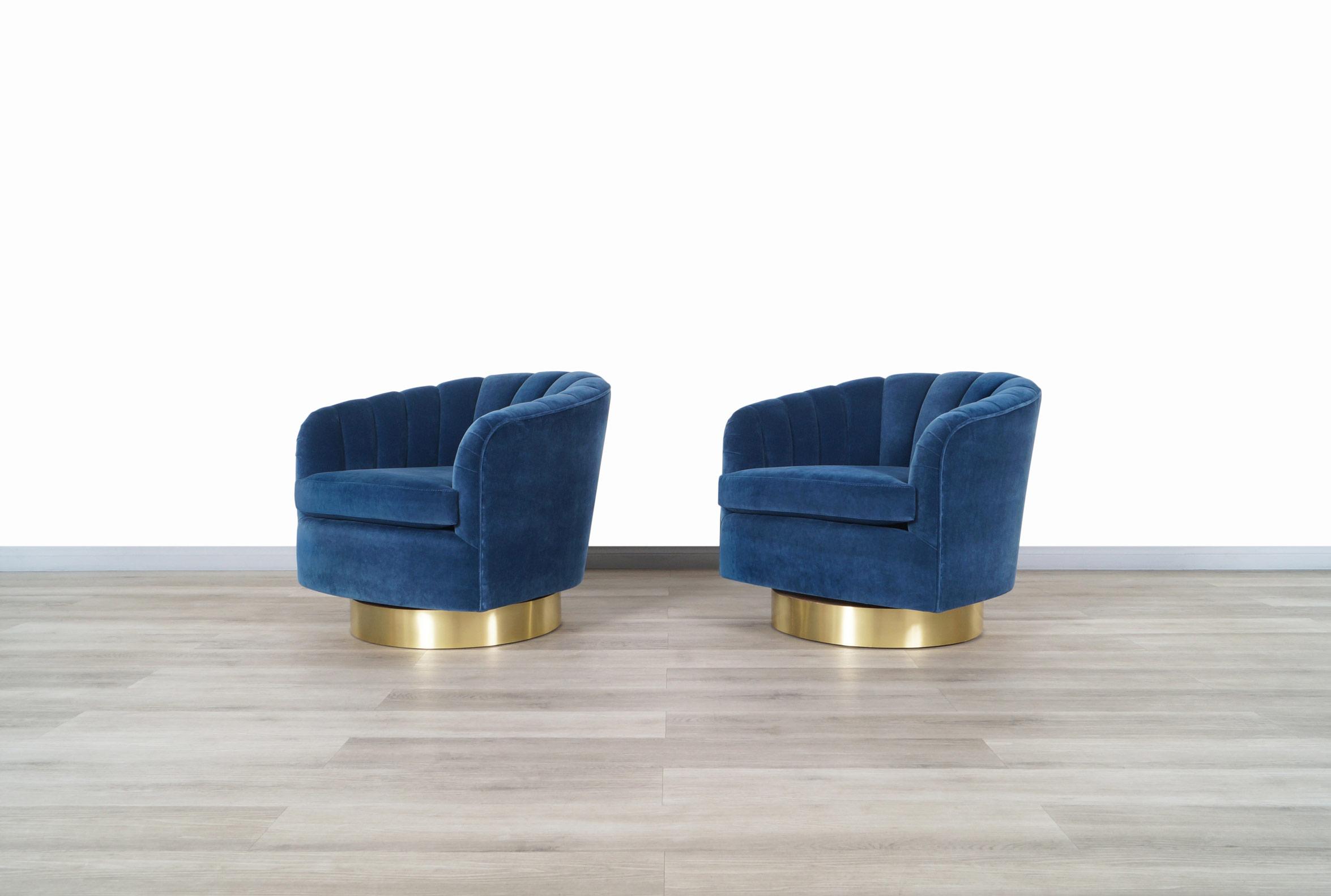 Vintage Brass Swivel Lounge Chairs by Milo Baughman