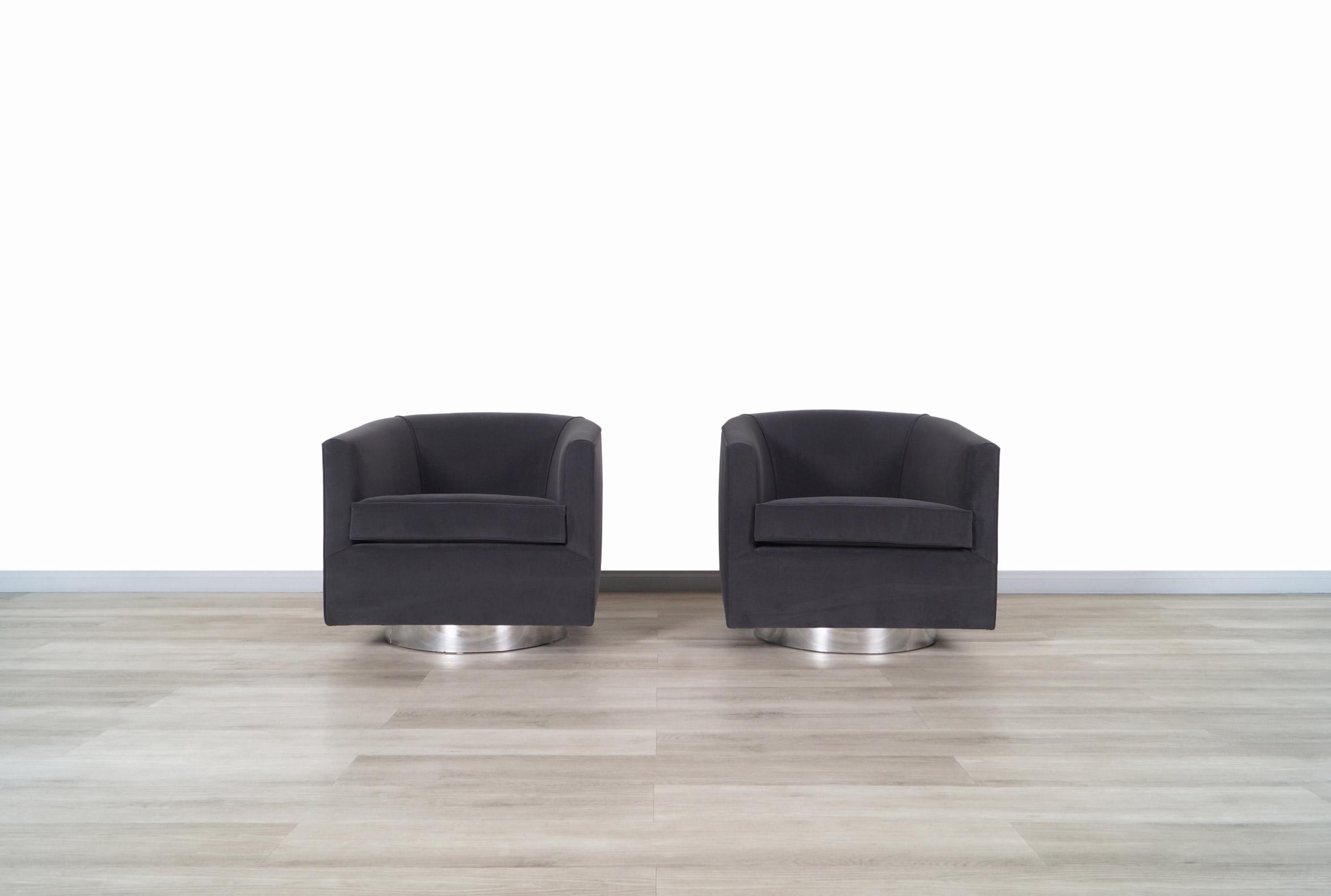 Vintage Chrome Swivel Lounge Chairs by Milo Baughman