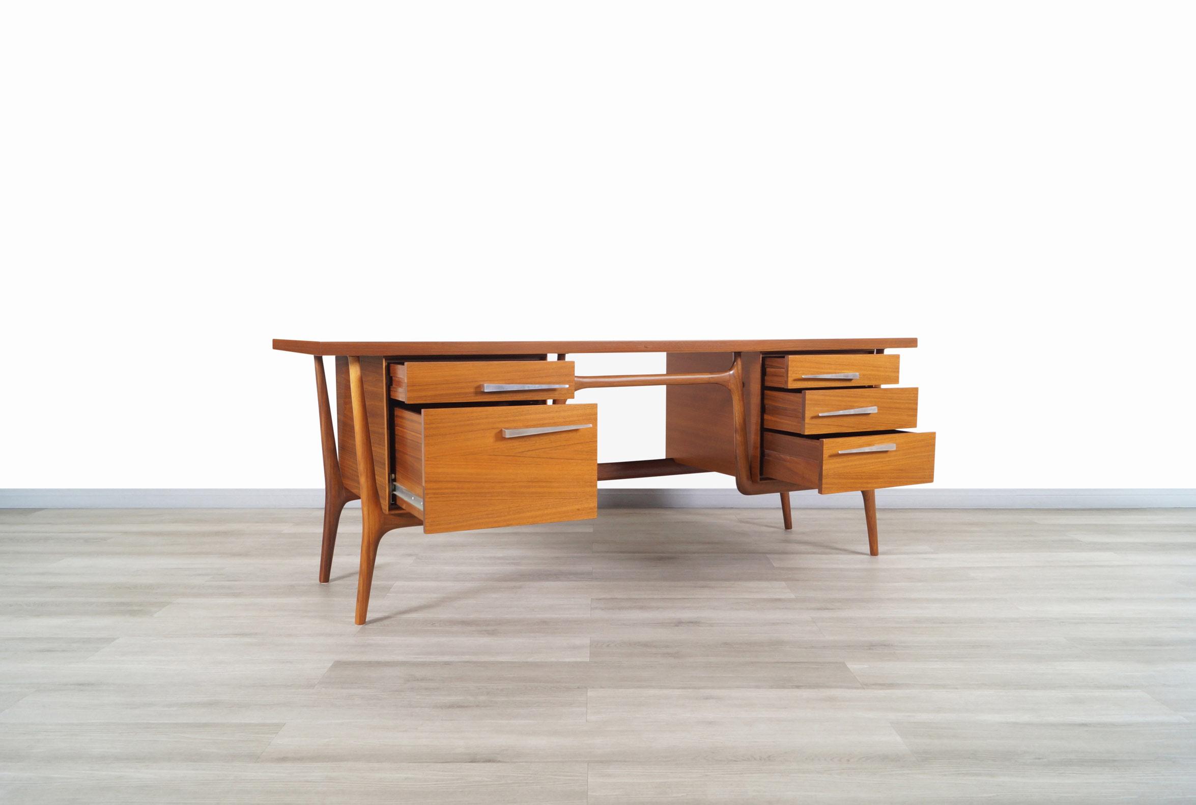 Vintage Sculptural Walnut Desk by Leopold Co.