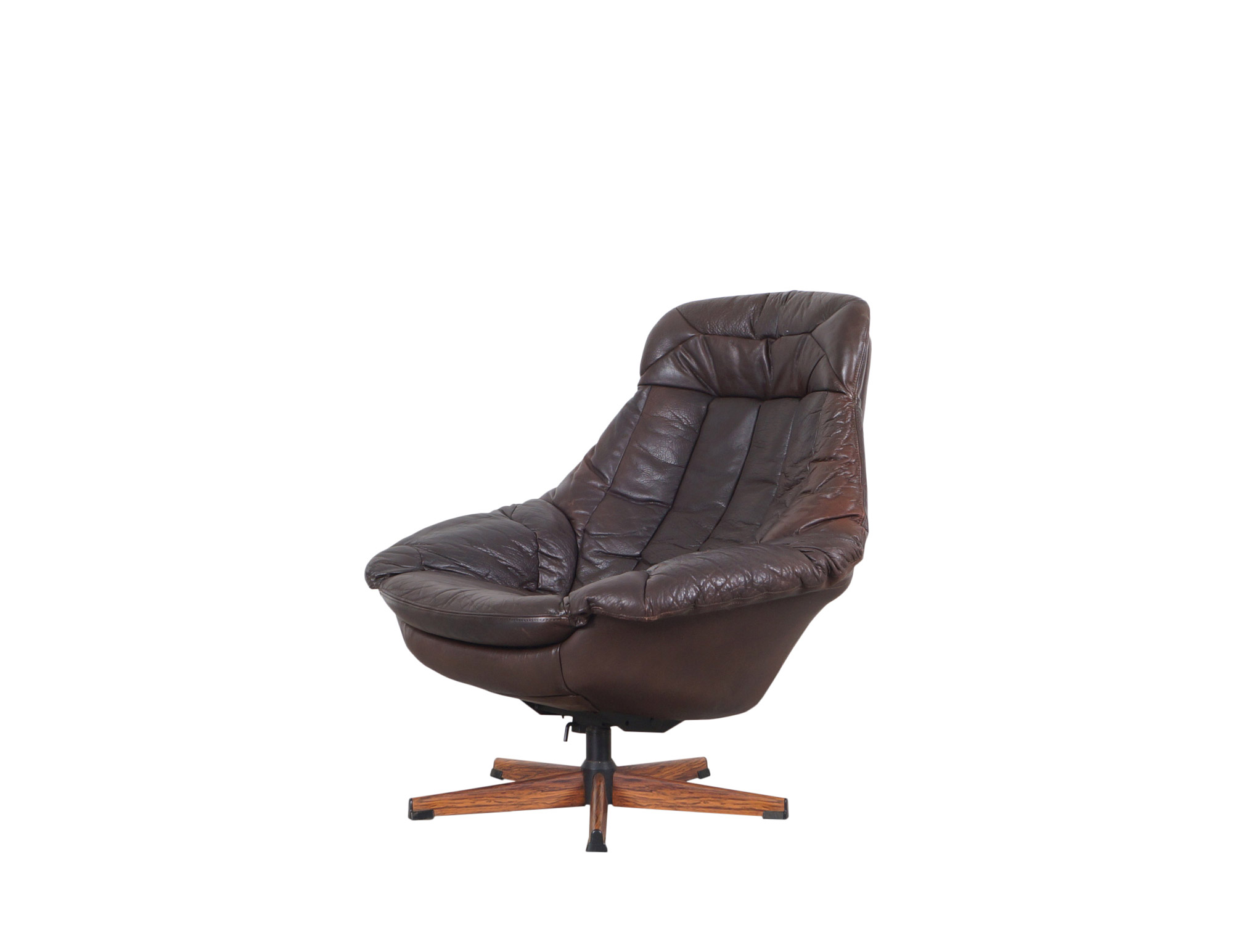 Vintage Leather Reclining Swivel Lounge Chair by H.W. Klein for Bramin
