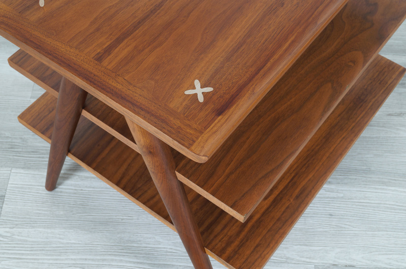 Vintage Three-Tiered Walnut Tables by Merton L. Gershun for American of Martinsville