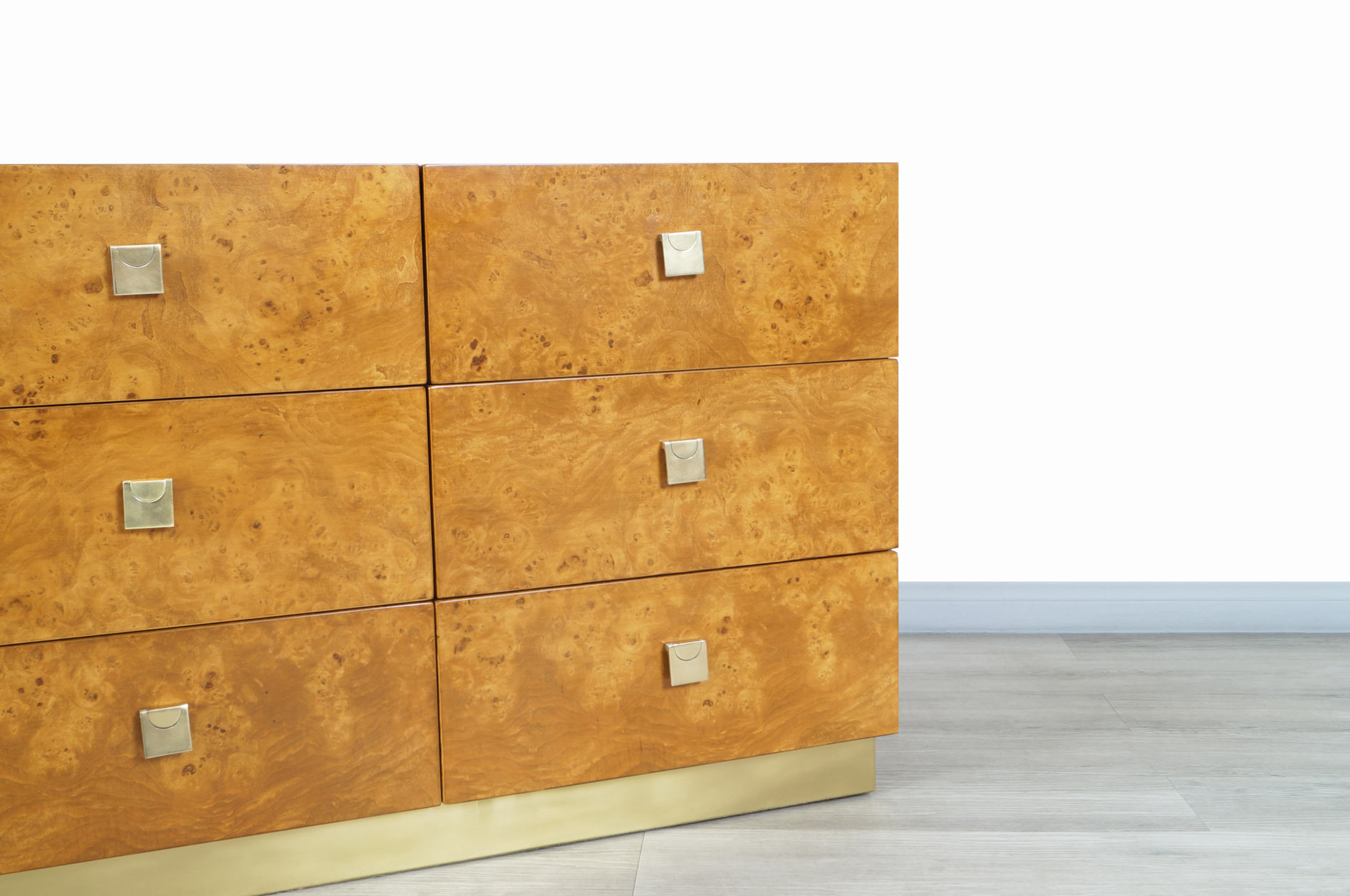 Vintage Burl Wood and Brass Dresser by Founders