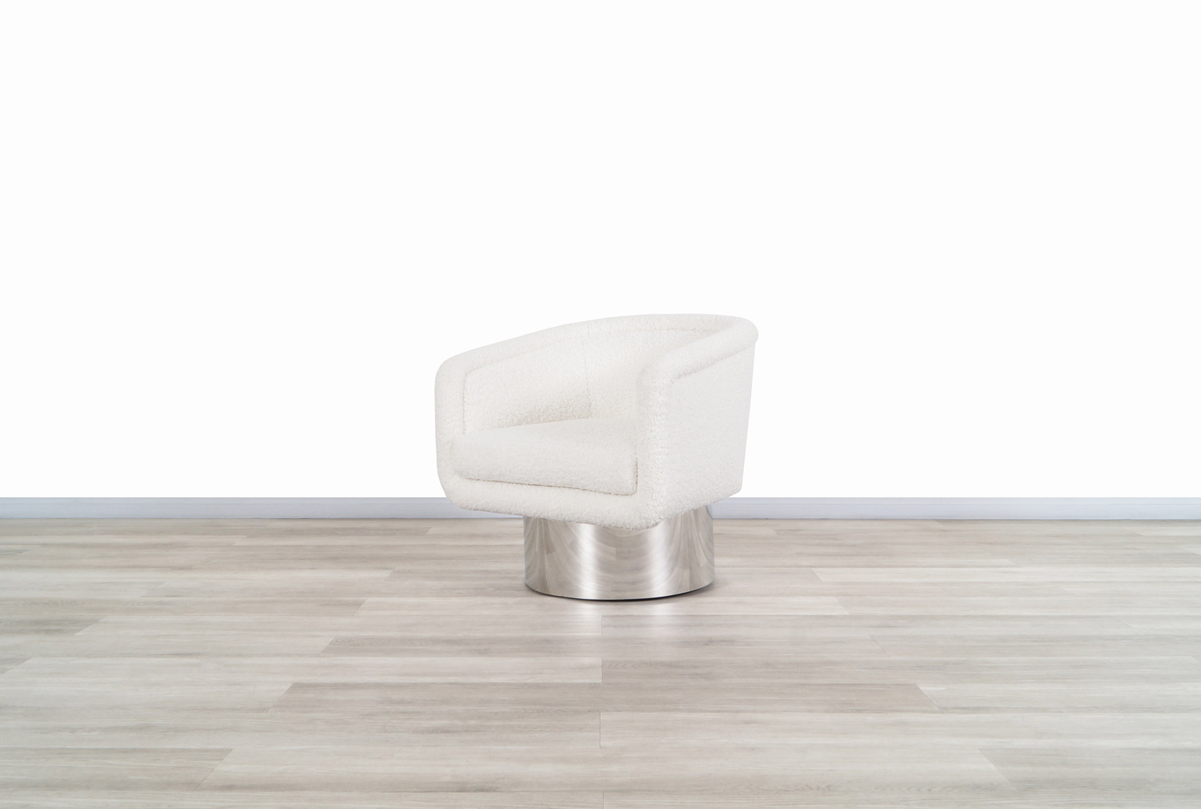 Vintage Chrome Swivel Lounge Chair by Leon Rosen for Pace